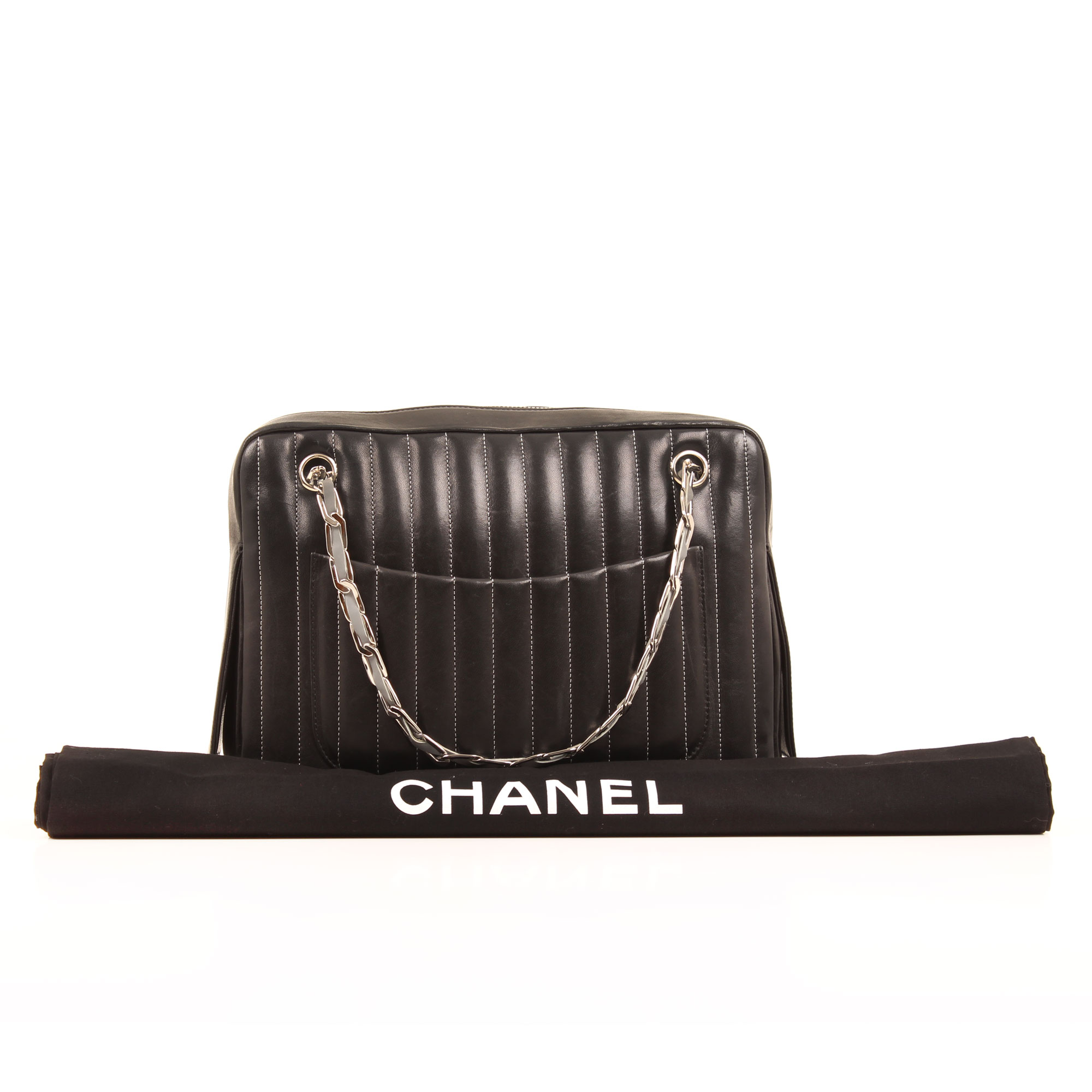 Imagen del dustbag del bolso chanel dustbag camera chevron quilted