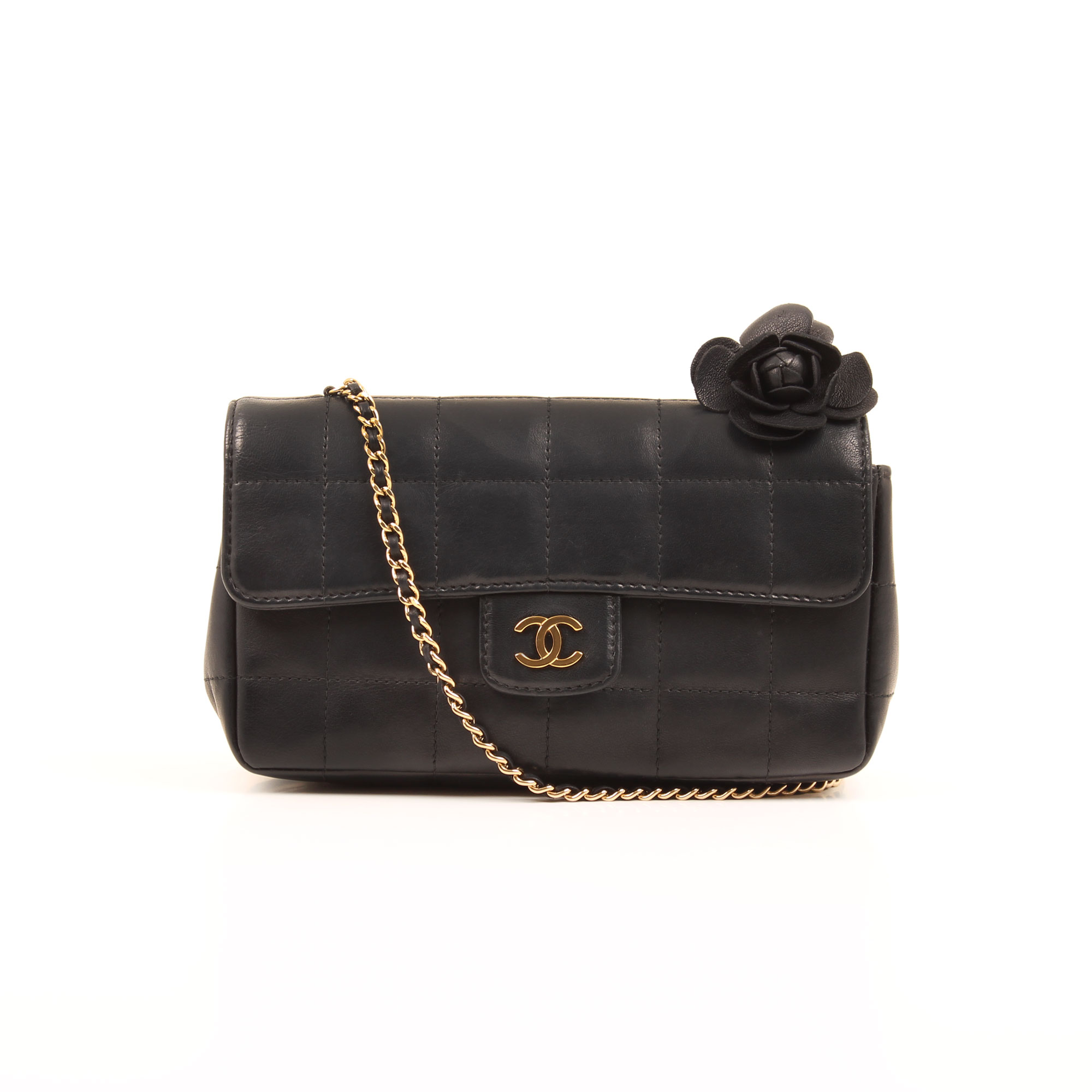 Front image of chanel mini cross body chocolate bar navy blue camelia