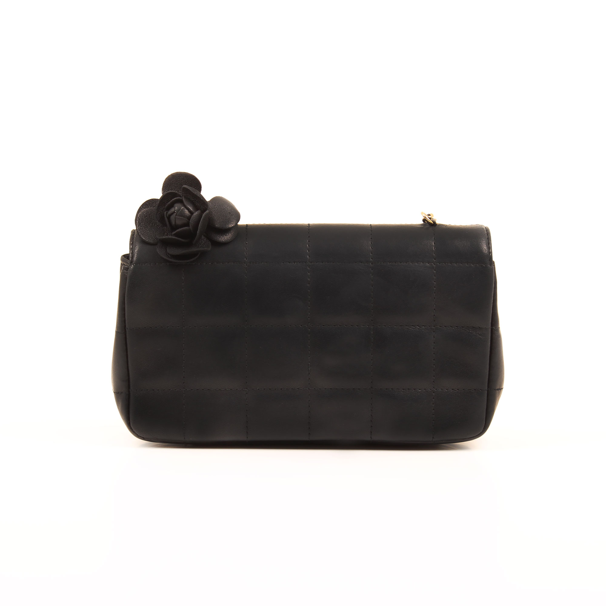 Imagen trasera del bolso chanel mini crossbody chocolate bar navy blue camelia