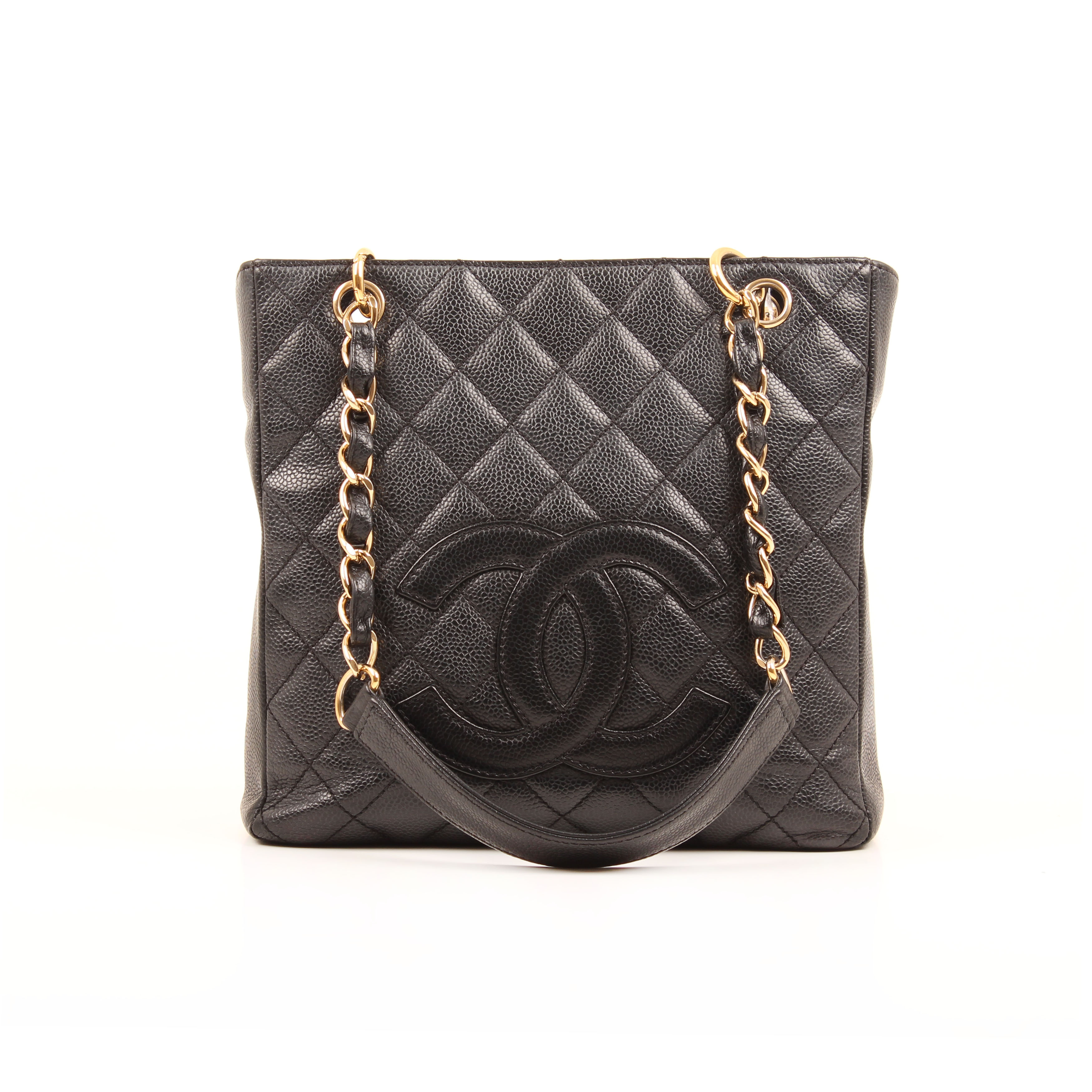 bolso chanel shopper tote mini piel caviar negro frontal