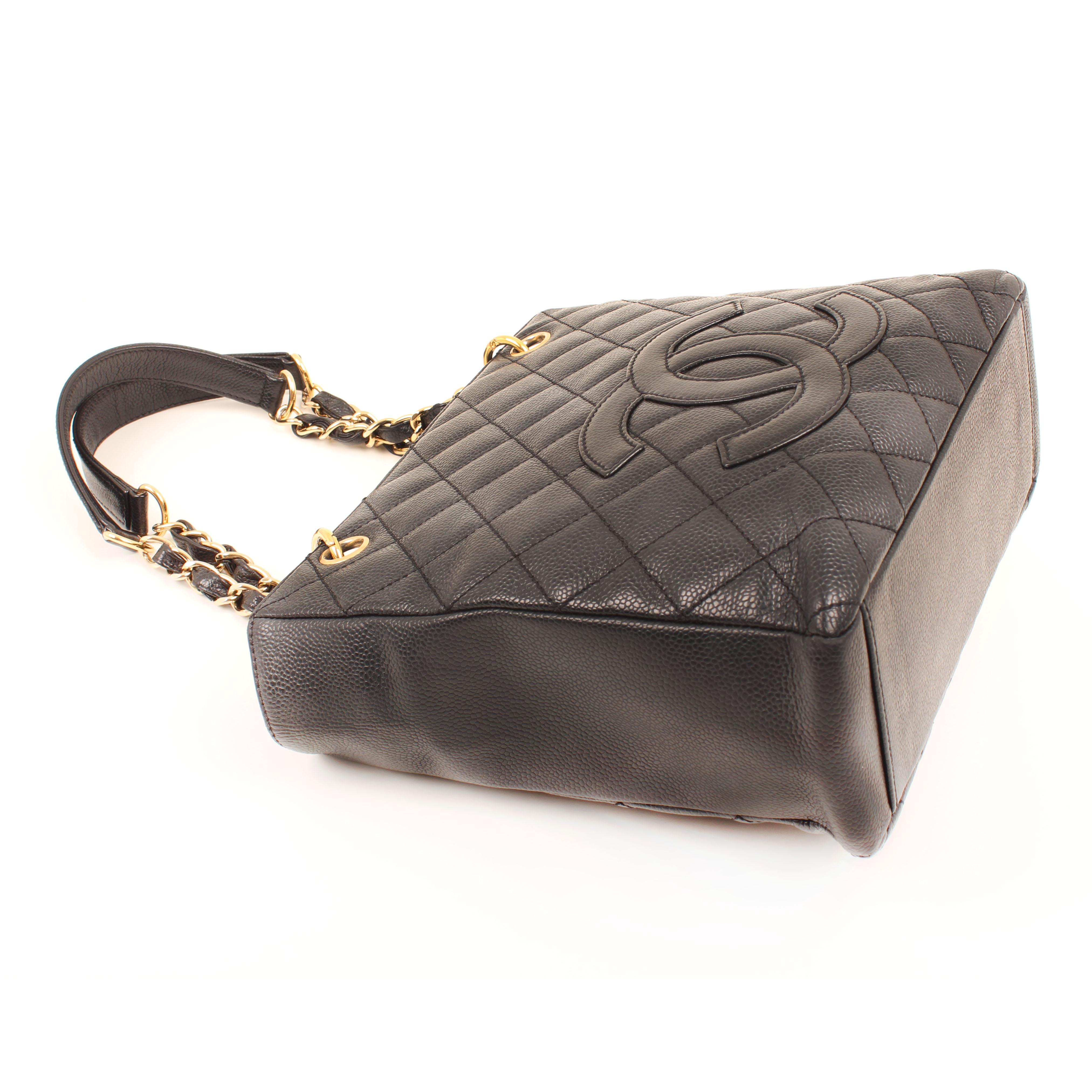 12e81d3dab3a Chanel Petite Shopping Tote Caviar Leather Black Shoulder Bag I CBL Bags