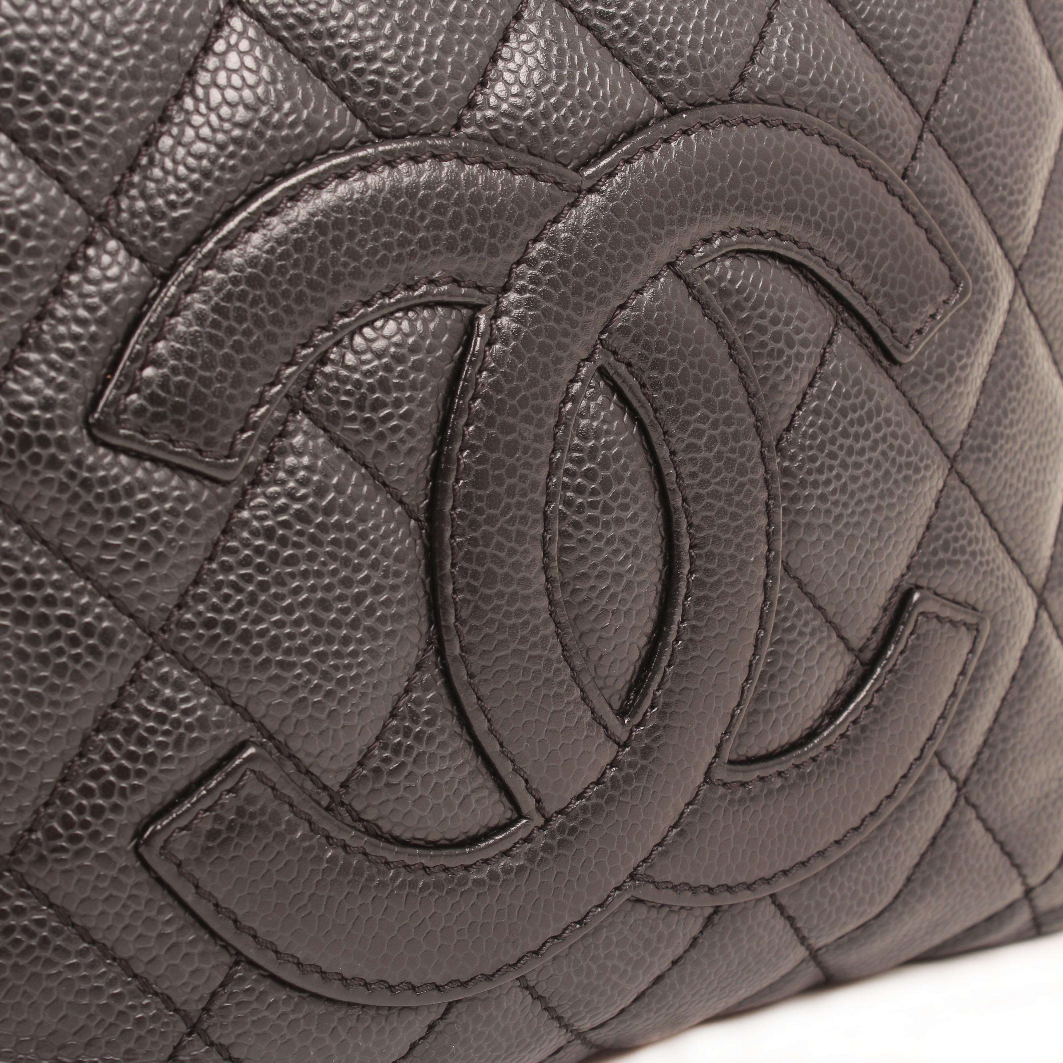 chanel bag shopper tote mini caviar leather black logo CC