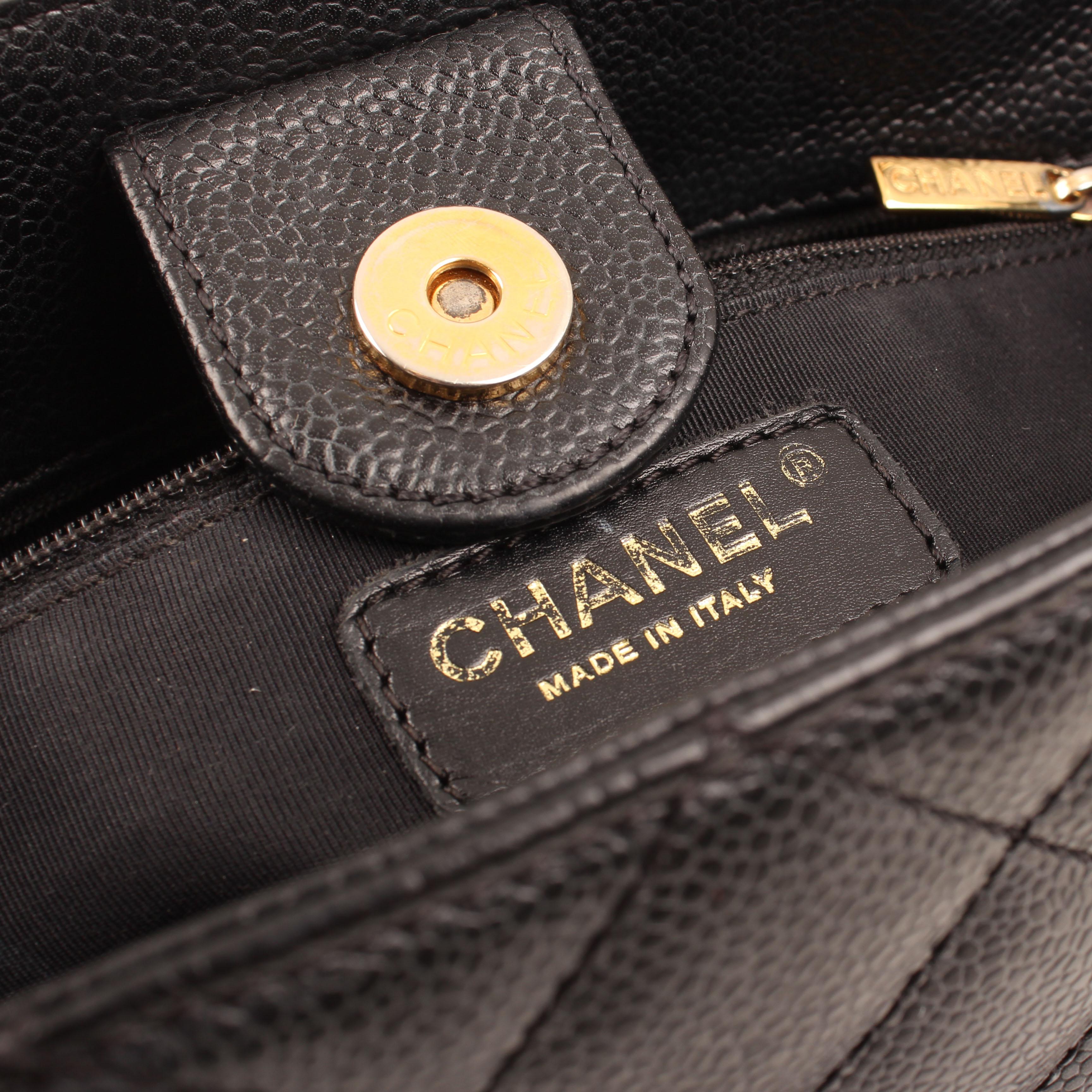chanel bag shopper tote mini caviar leather black brand clasp