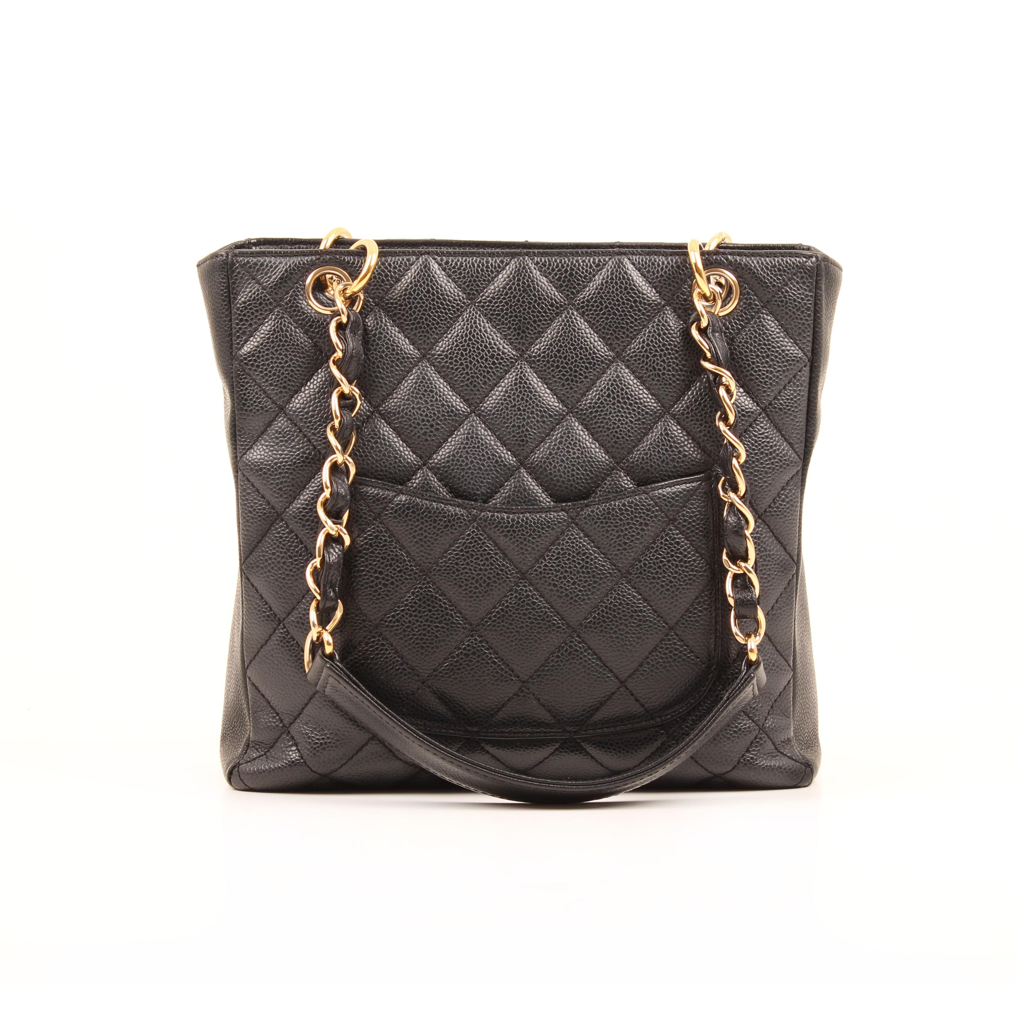 chanel bag shopper tote mini caviar leather black back