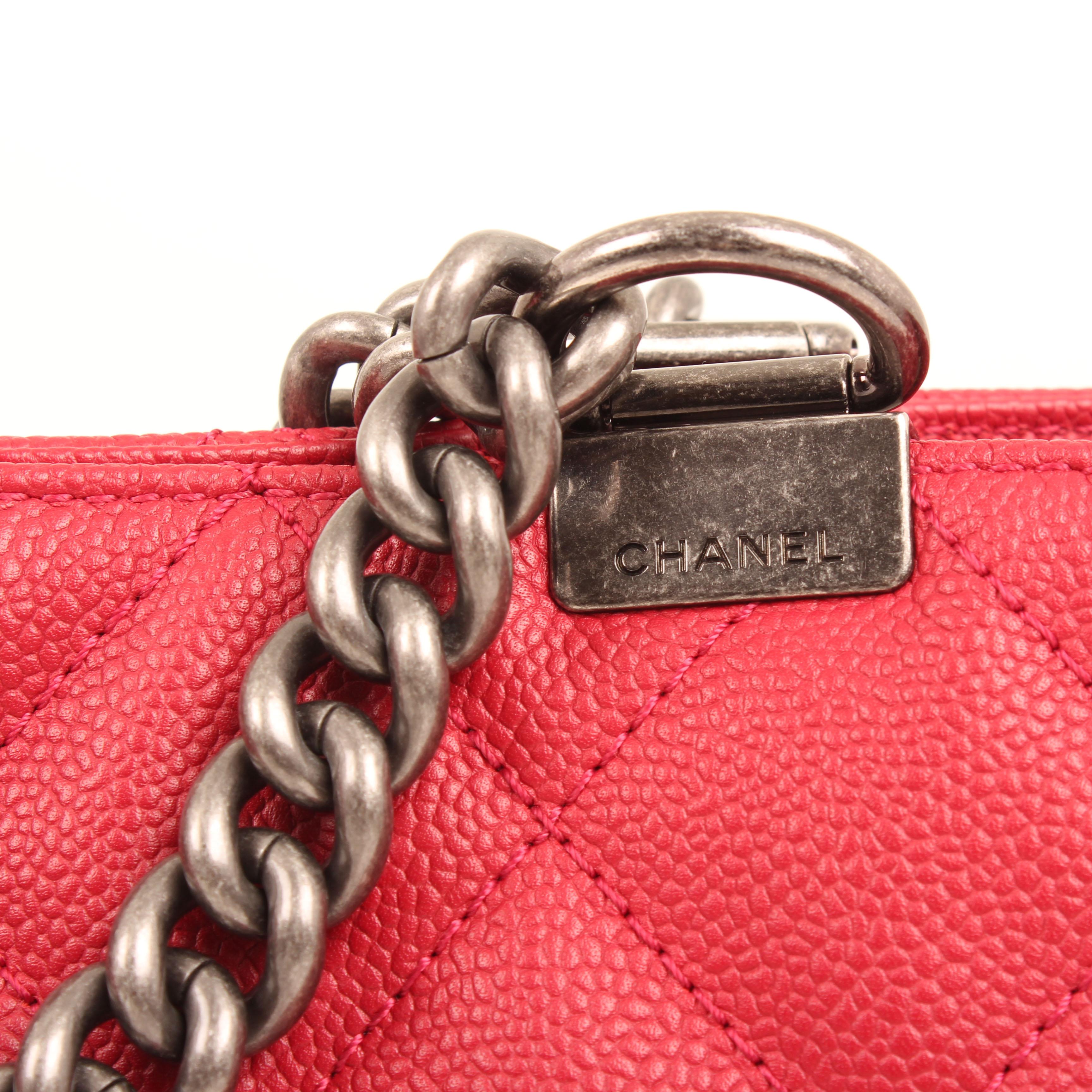 bolso chanel tote in chains piel caviar fresa cadena