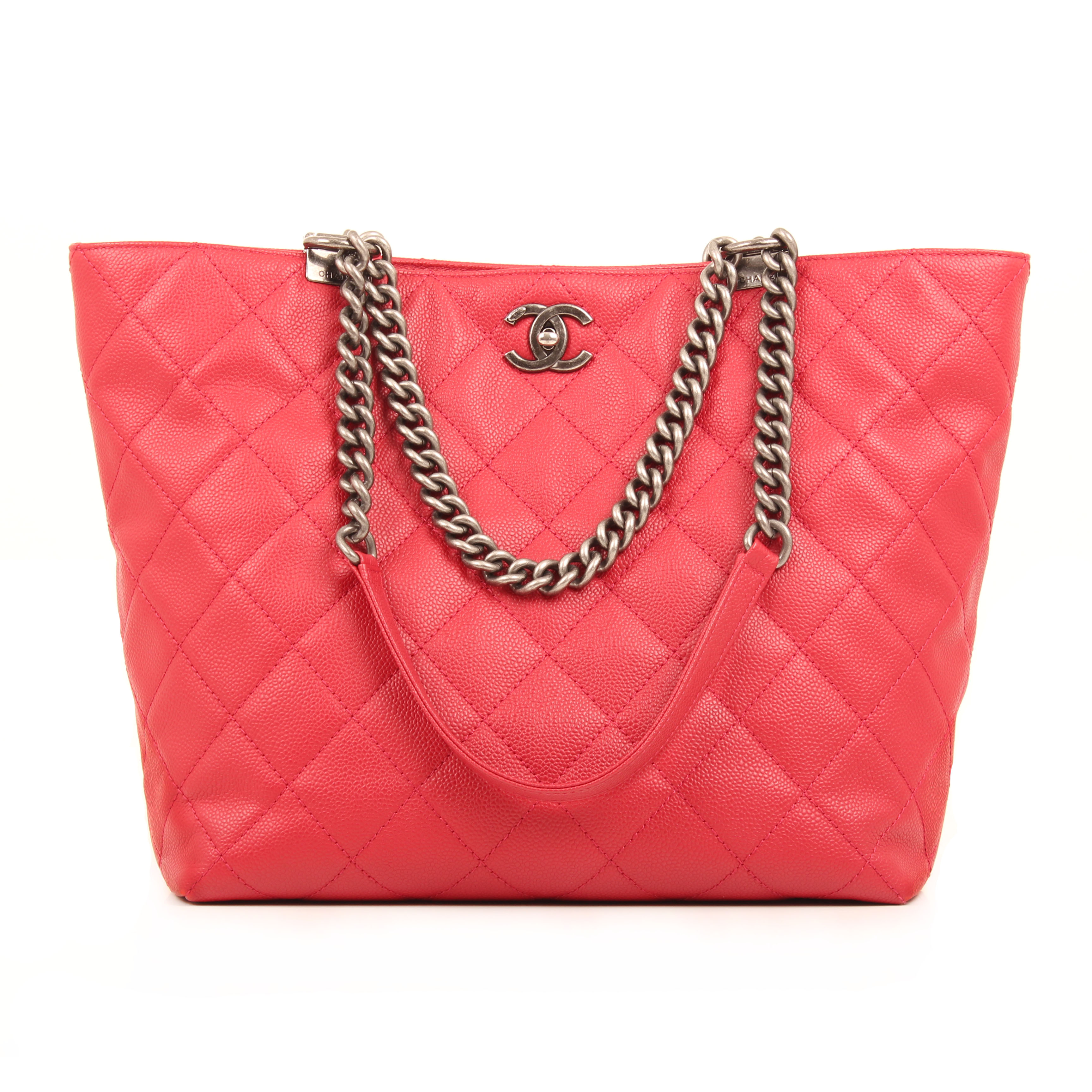bolso chanel tote in chains piel caviar fresa frontal