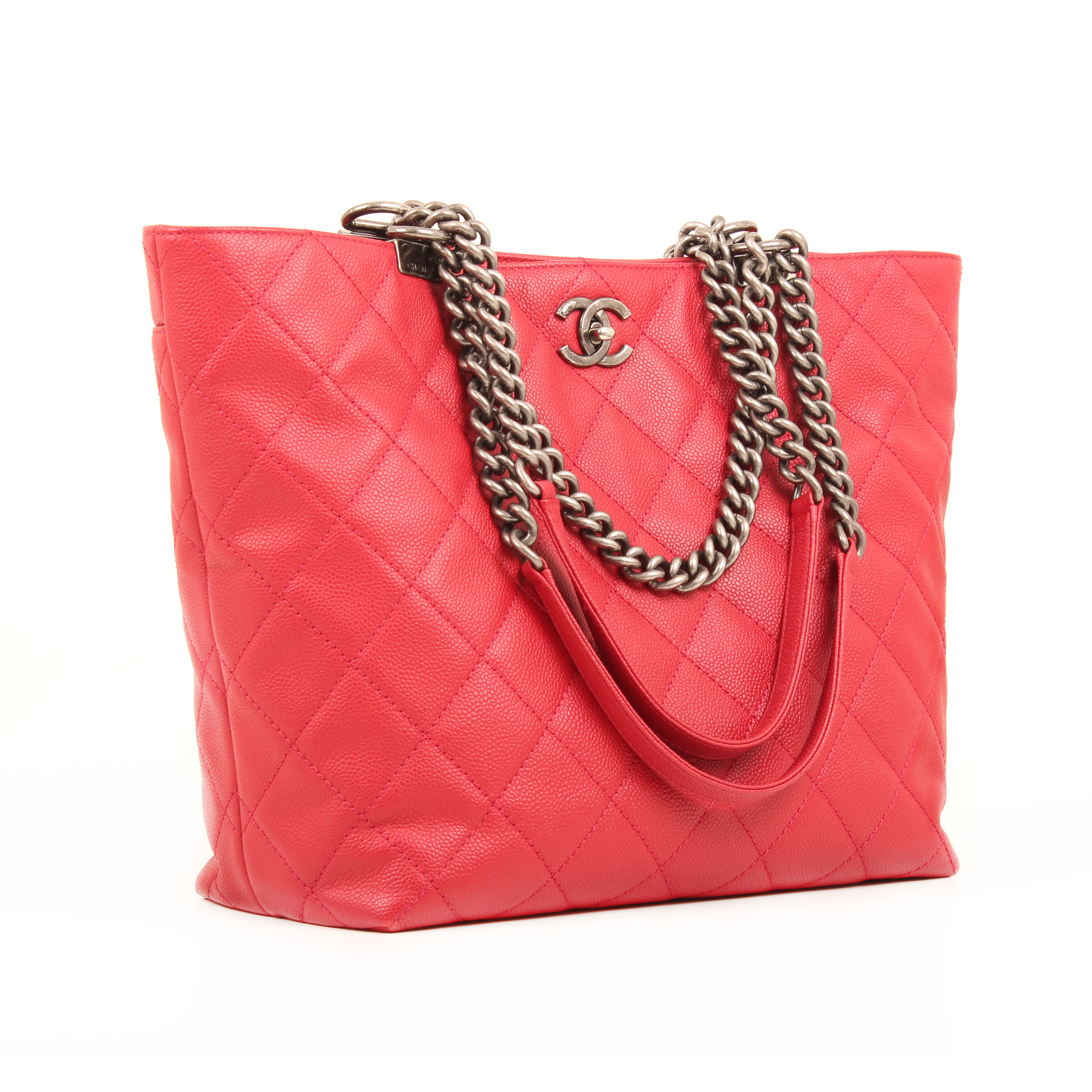 bolso chanel tote in chains piel caviar fresa general