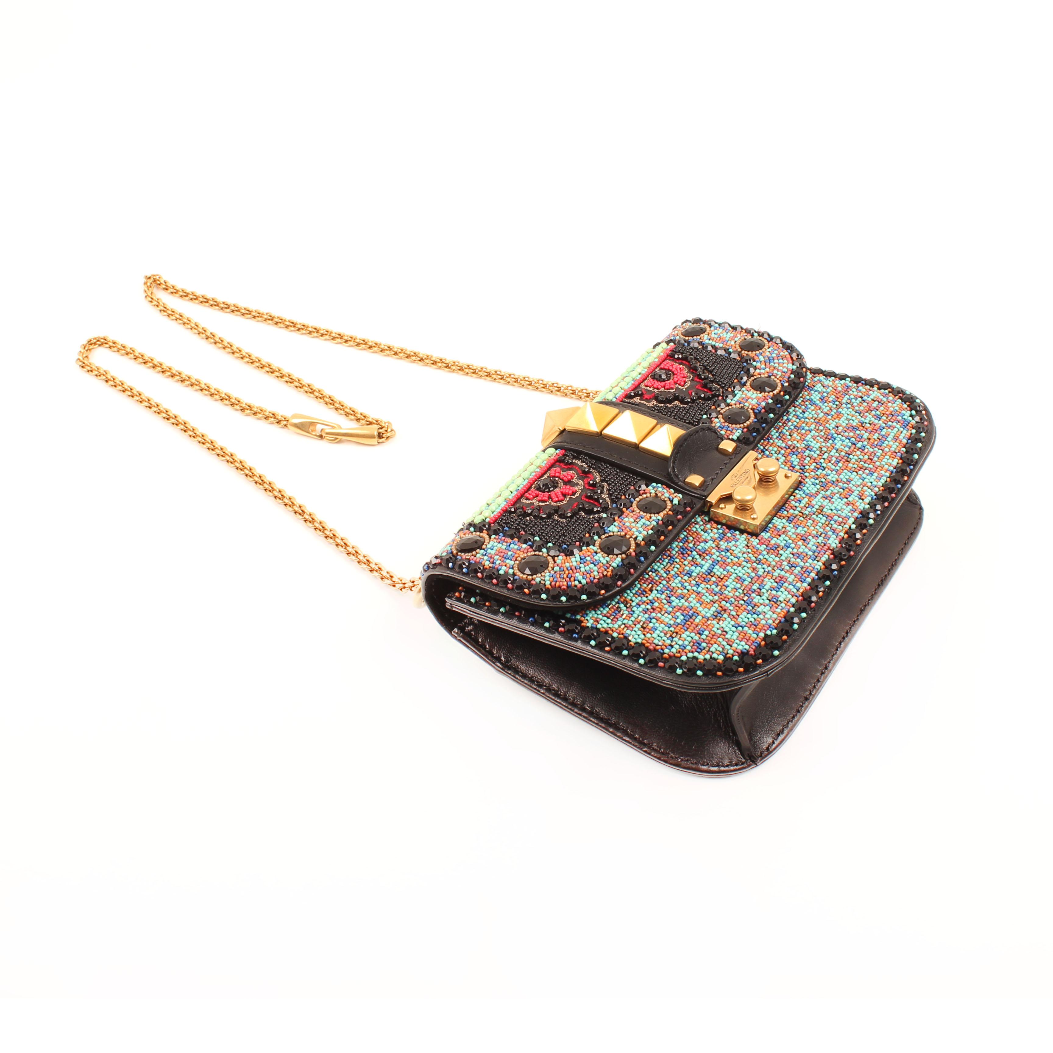 crossbody bag valentino glam lock rockstud beaded multicolor chain