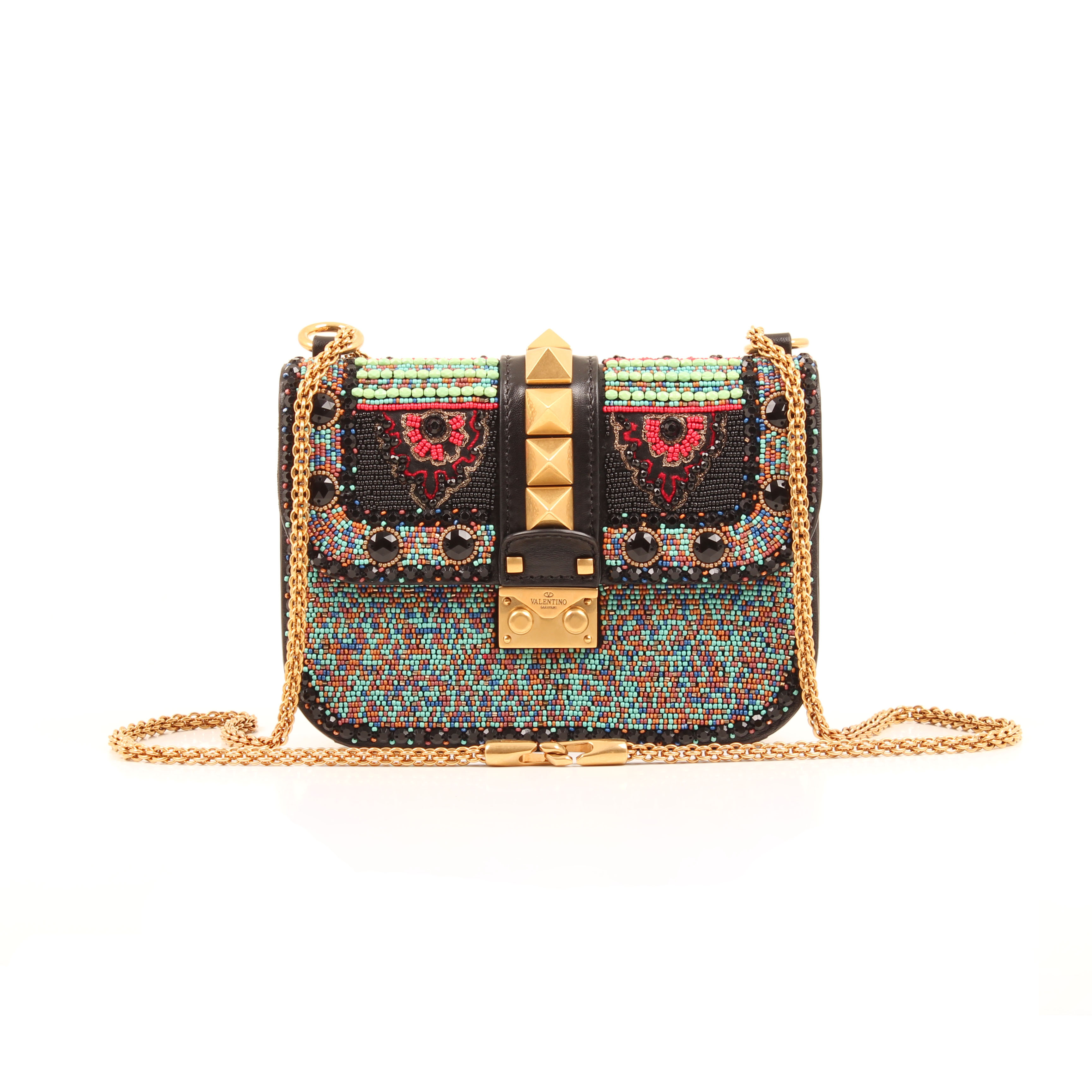 crossbody bag valentino glam lock rockstud beaded multicolor front