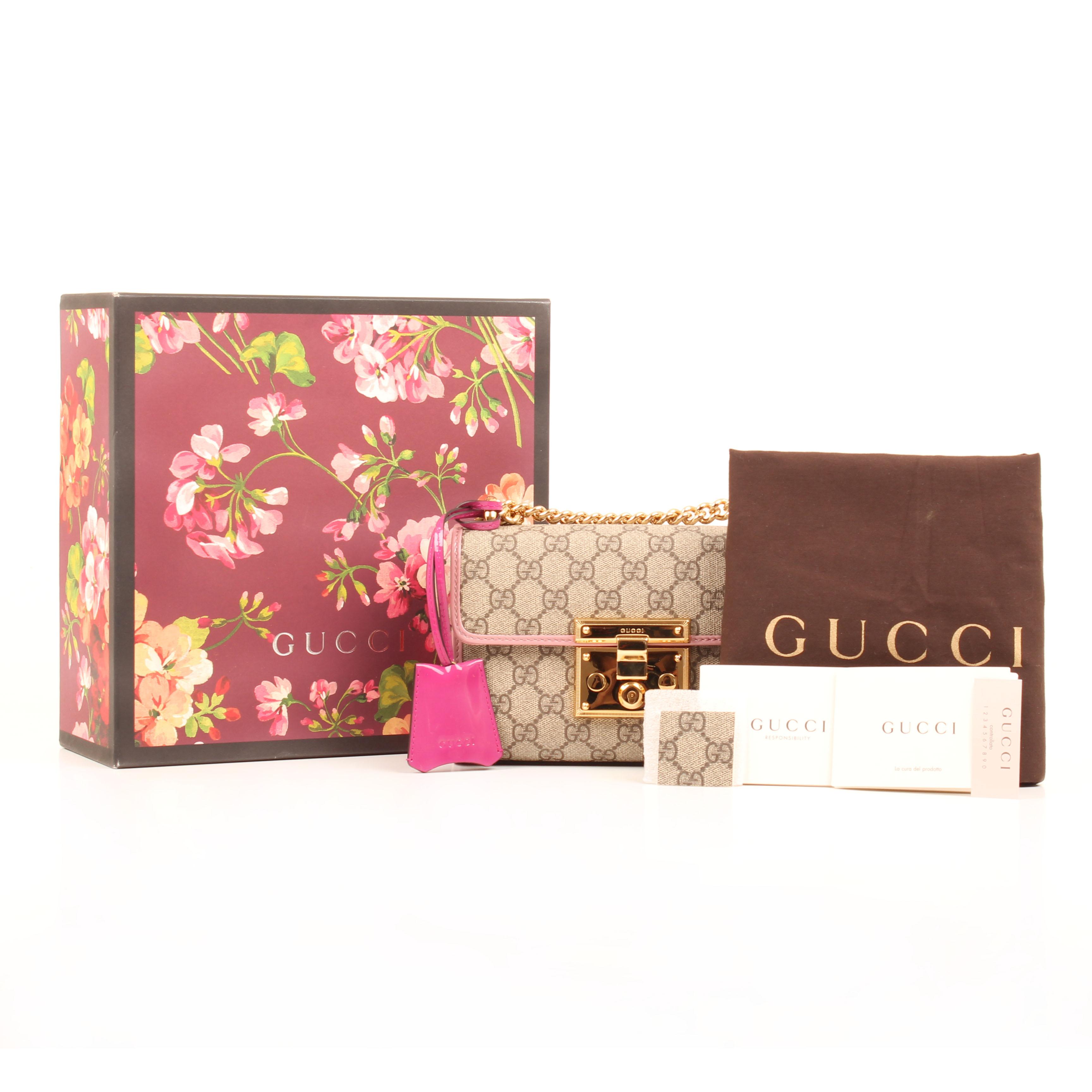 gucci padlock bag gg supreme canvas patent box dustbag