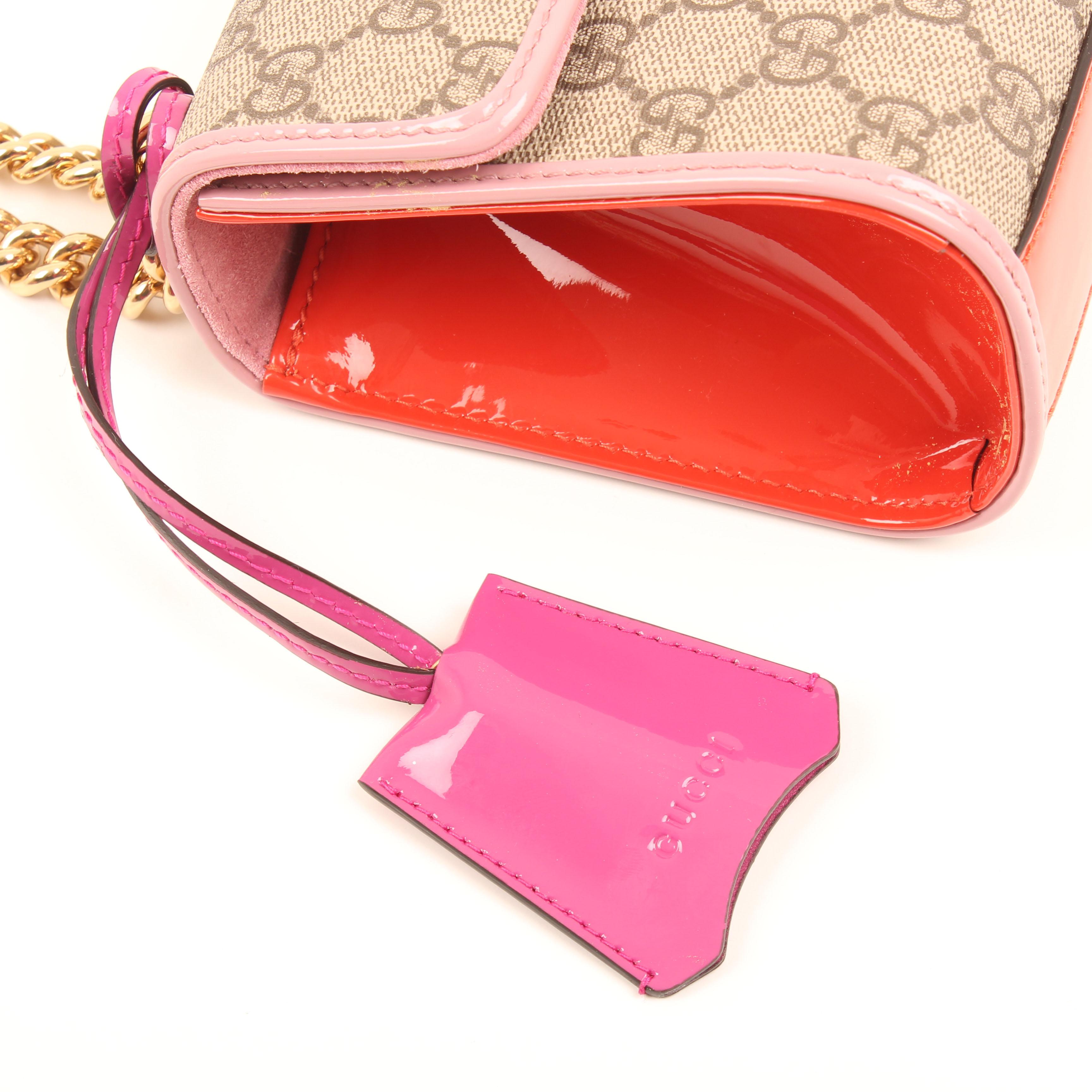 gucci padlock bag gg supreme canvas patent clochette tirette
