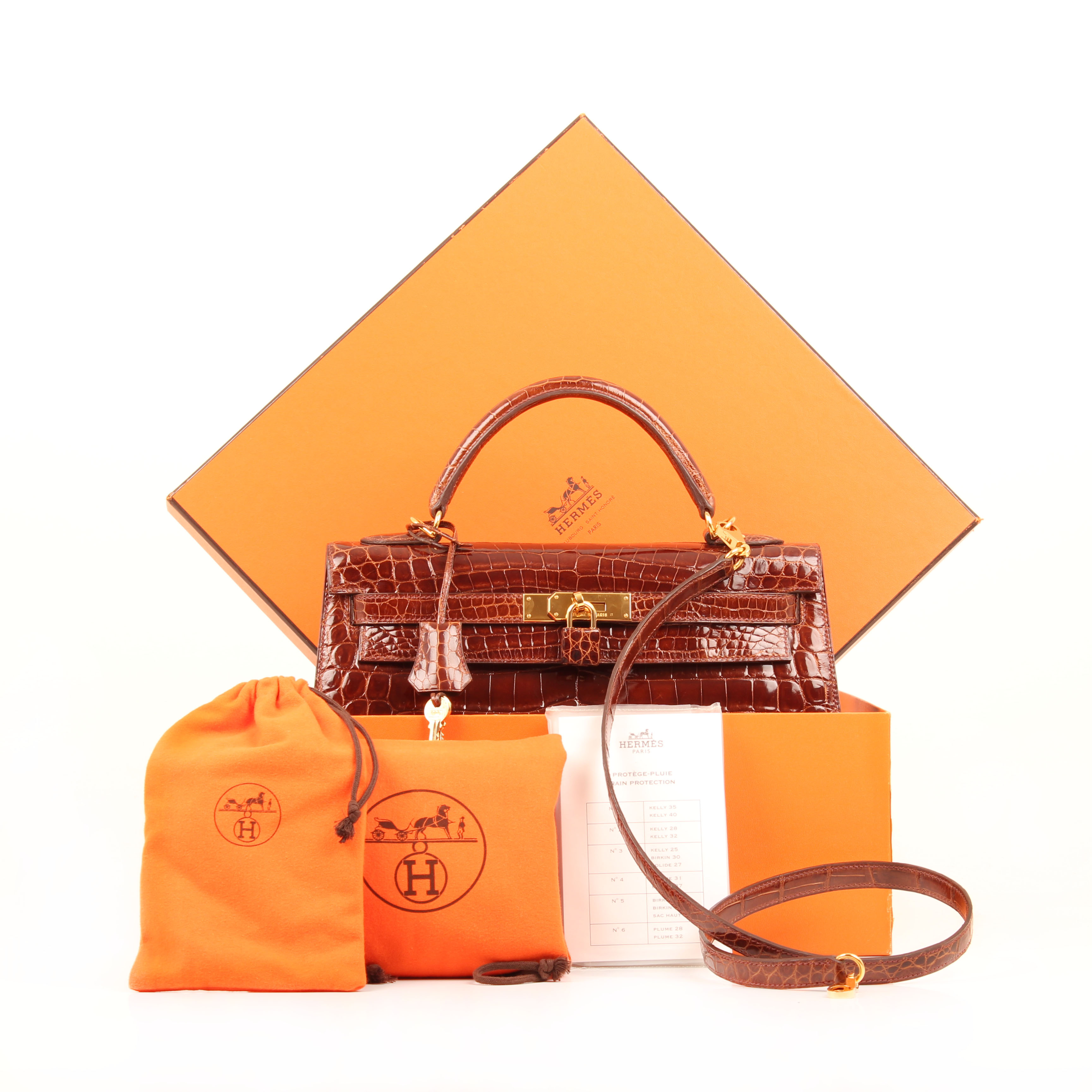 hermes kelly 32 handbag croco porosus whisky box dustbag