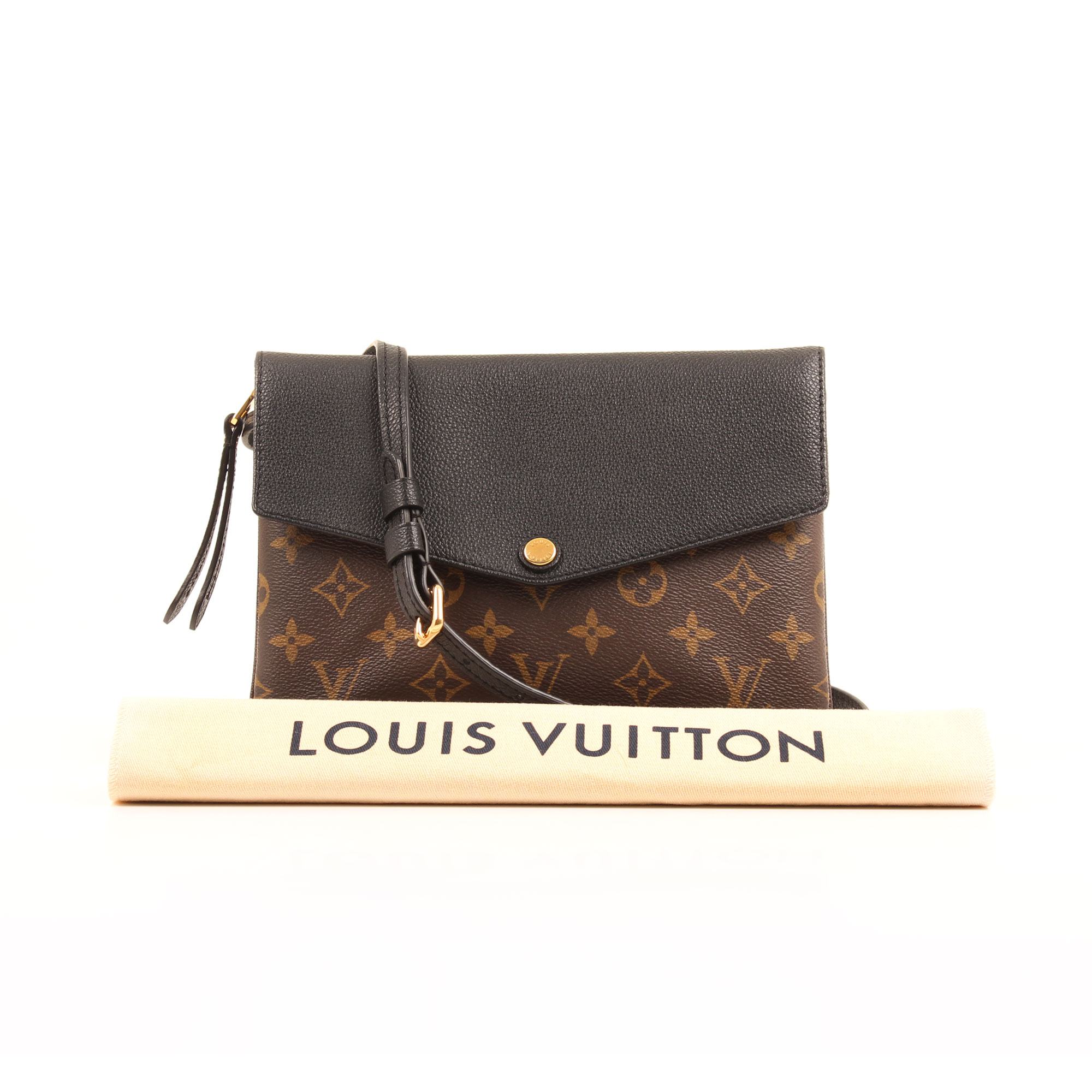 Imagen del dustbag del bolso louis vuitton twice bandolera monogram macassar