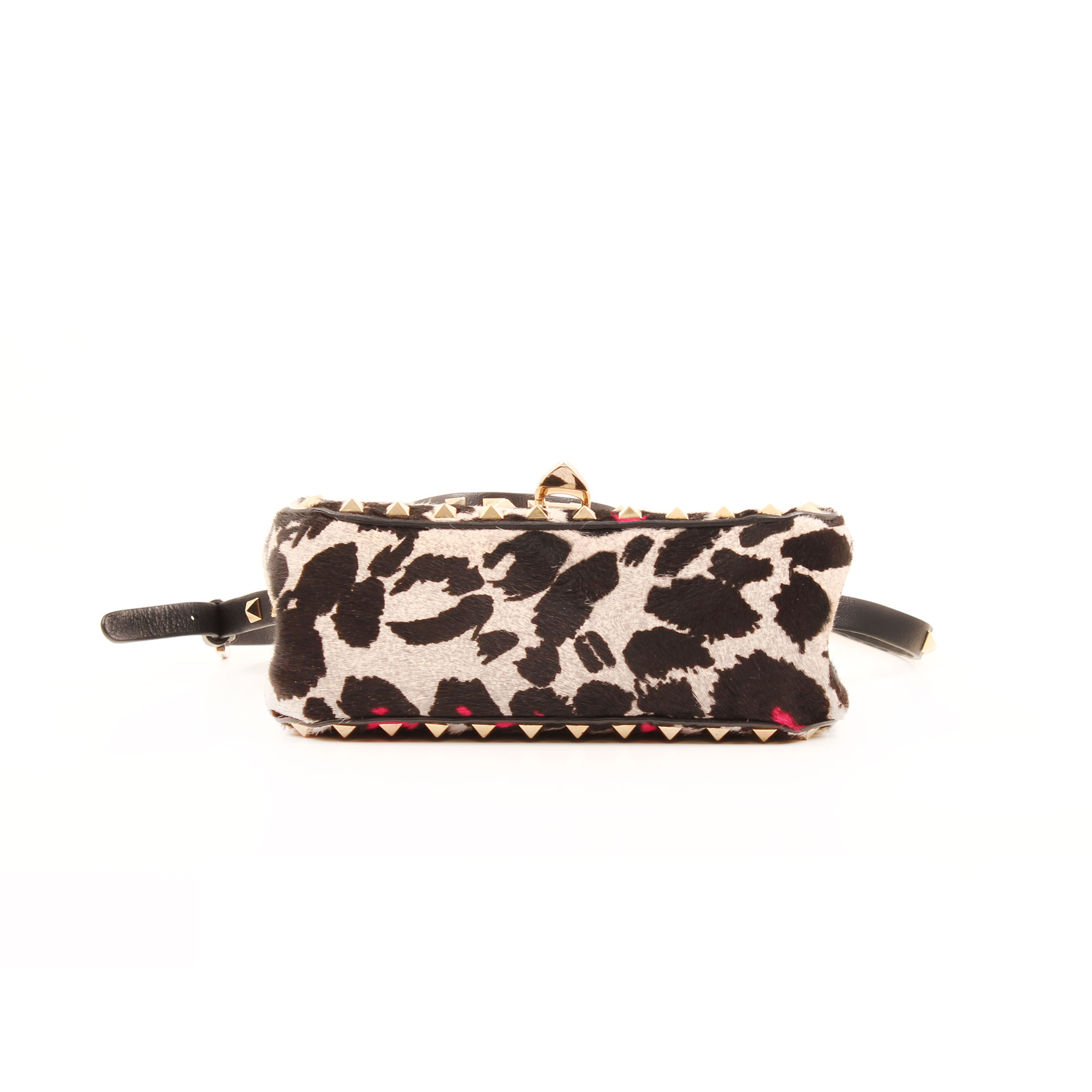 Base image of valentino rockstud mini cross body bag leopard print pink hair calf