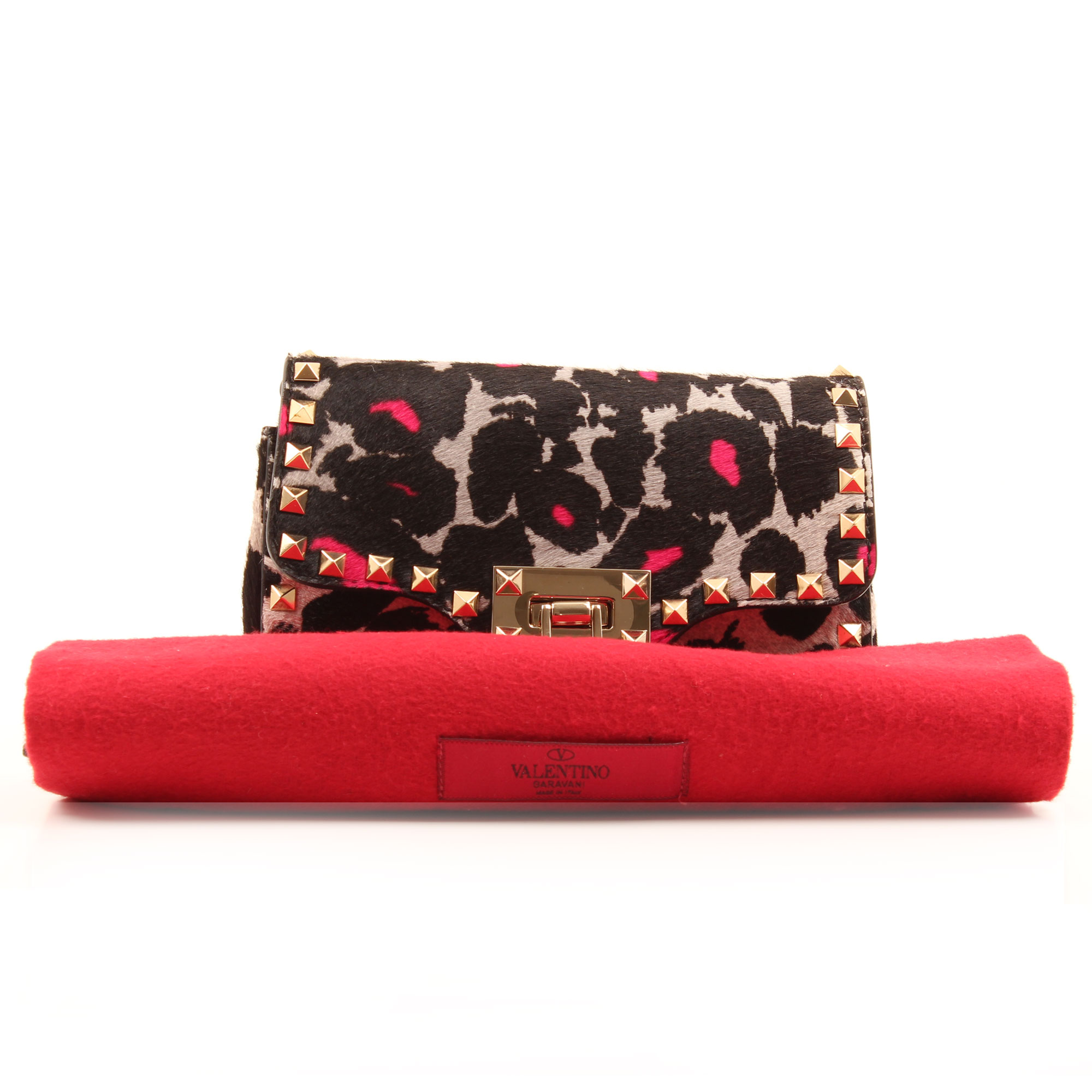 Imagen del dustbag del bolso valentino rockstud mini cross body leopard print pink hair calf