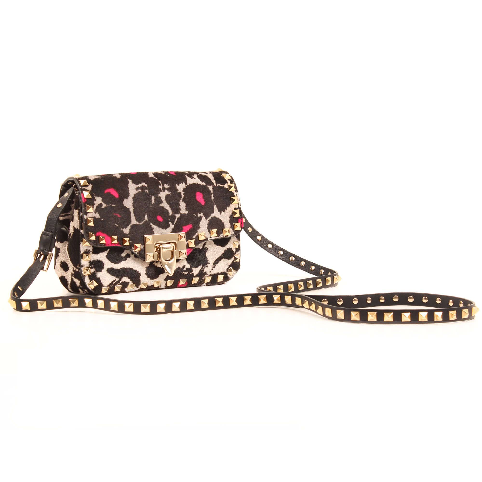 General image of valentino rockstud mini cross body bag leopard print pink hair calf