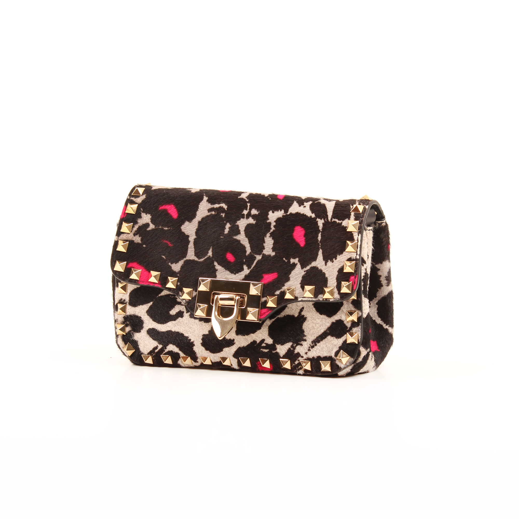 General 2 image of valentino rockstud mini cross body bag leopard print pink hair calf