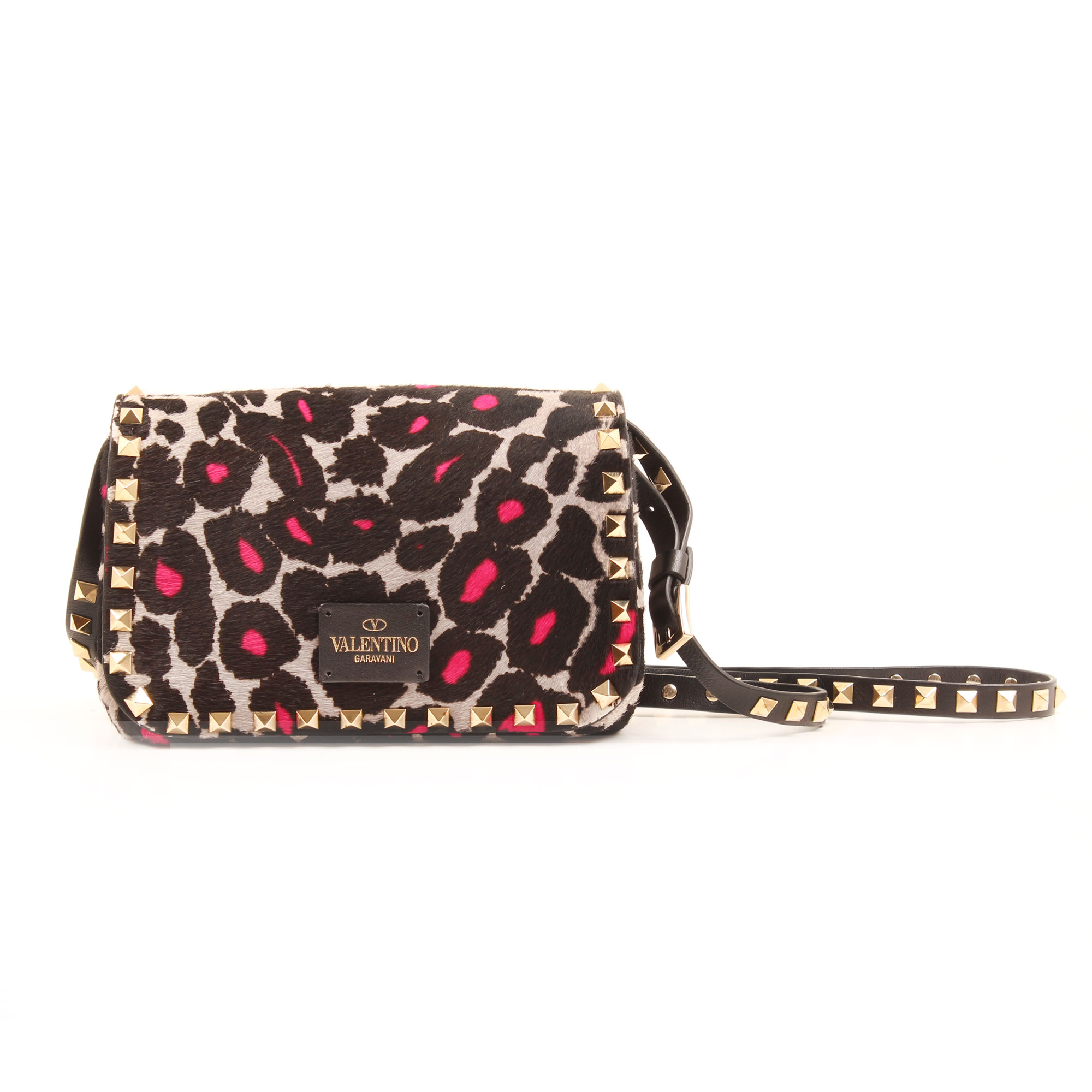 Imagen trasera del bolso valentino rockstud mini cross body leopard print pink hair calf