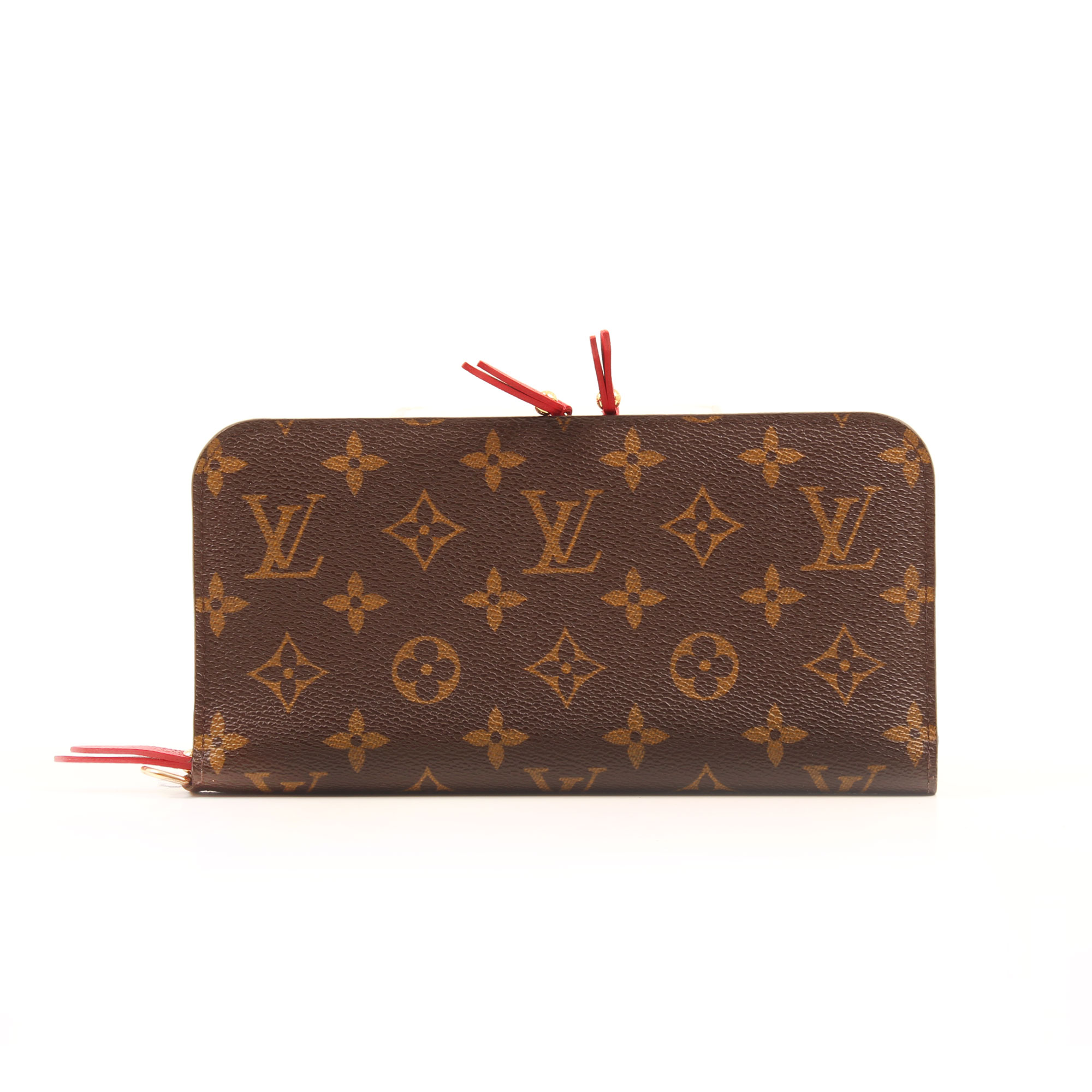 Front image of louis vuitton insolite monogram red wallet