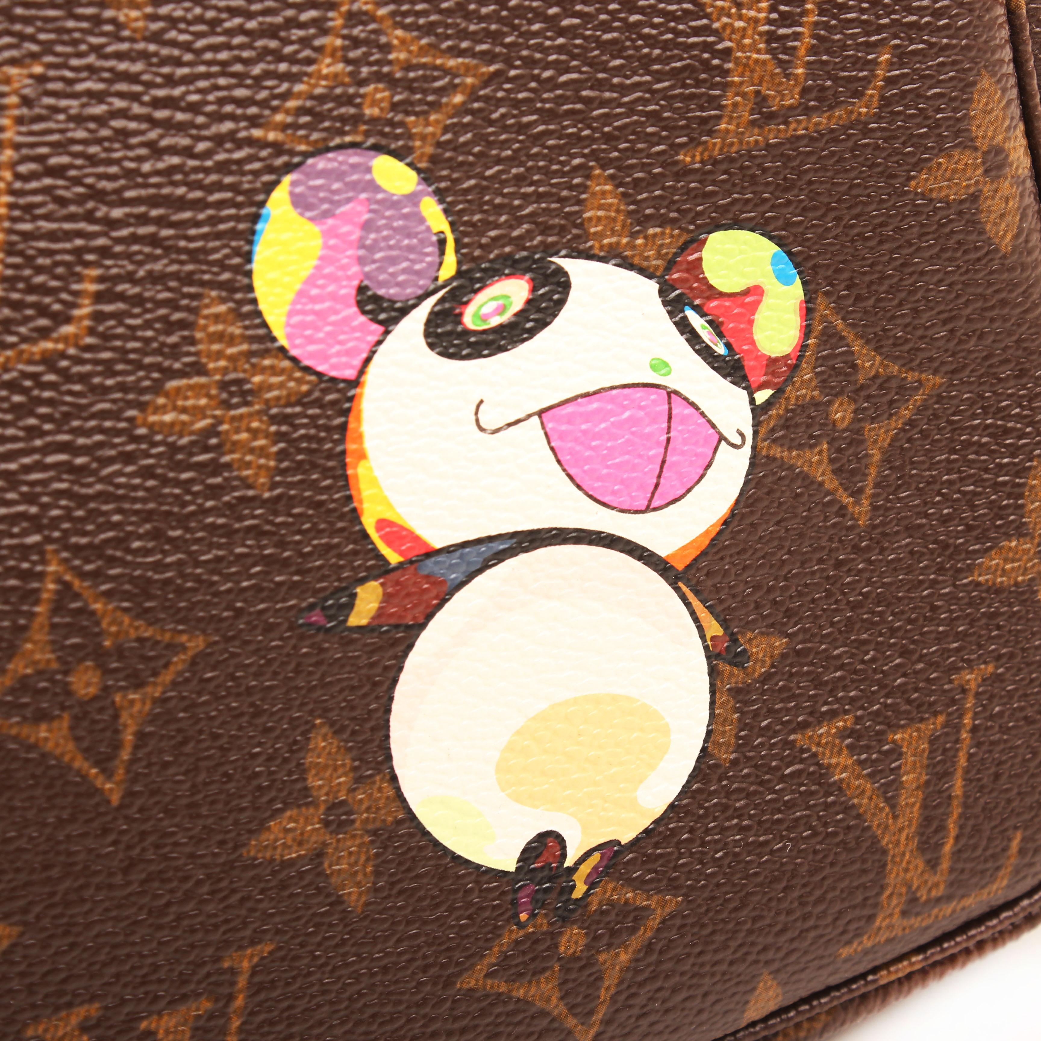 louis vuitton pochette accessoires nm murakami panda monogram ilustracion