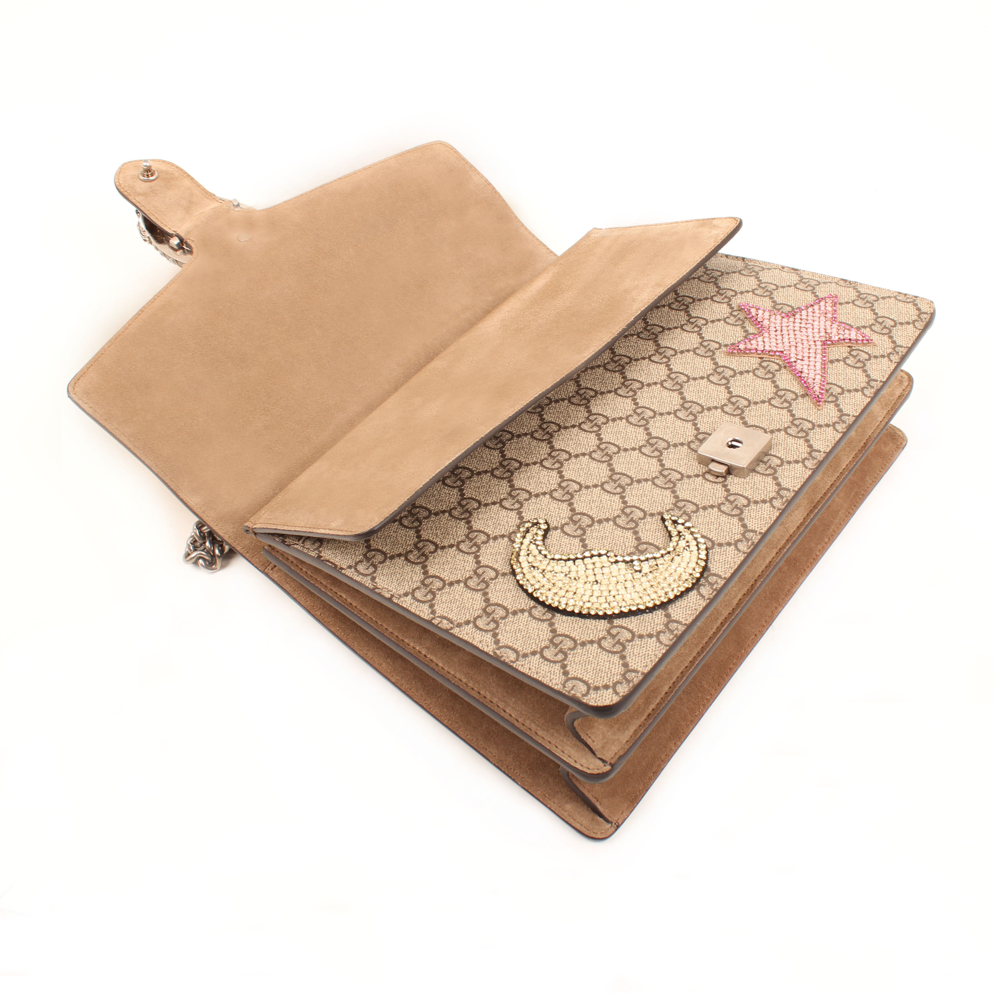 gucci dionysus embroidered shoulder bag rhinestones suede taupe gg canvas supreme open