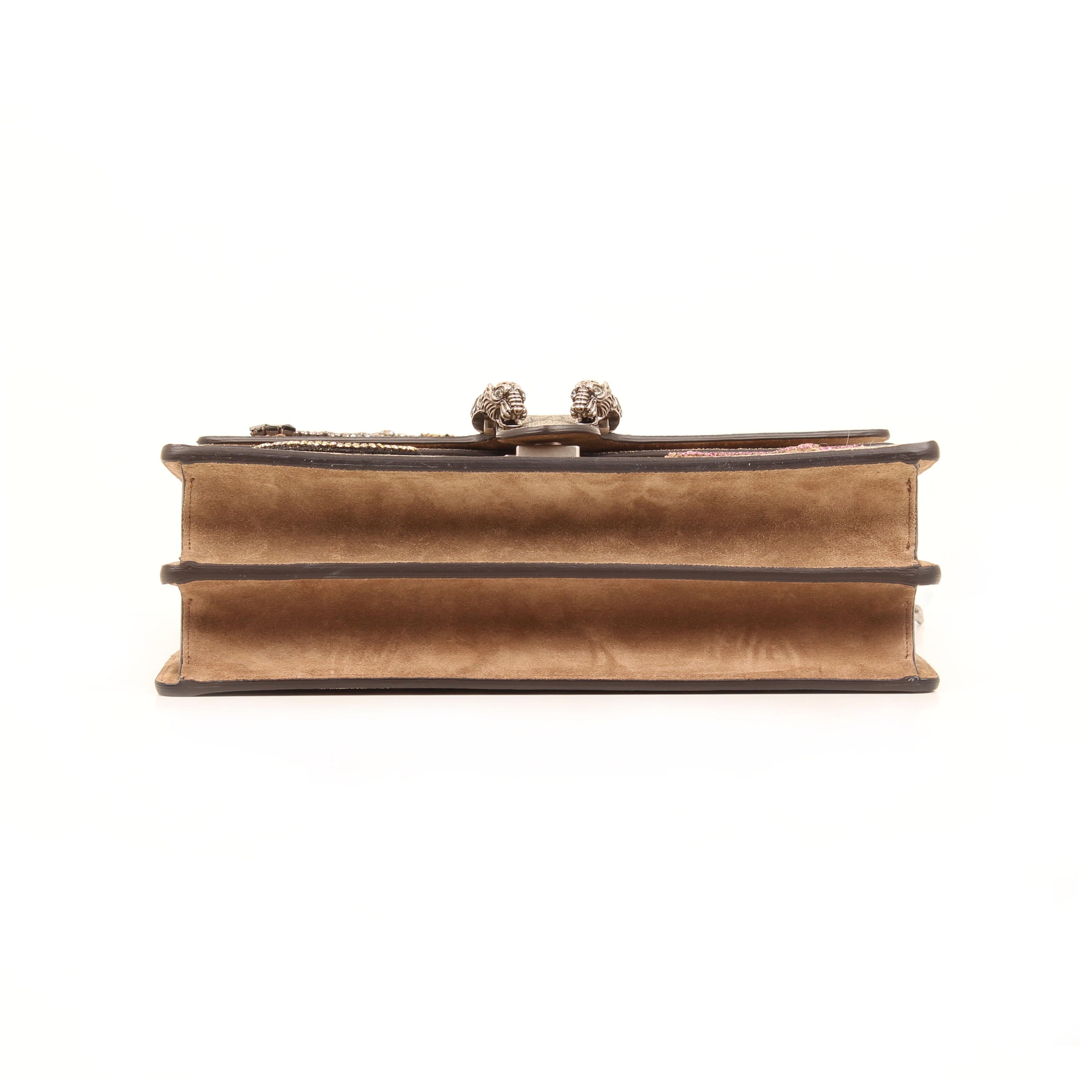 gucci shoulder bag dionysus embroidered rhinestones suede taupe gg supreme canvas bottom