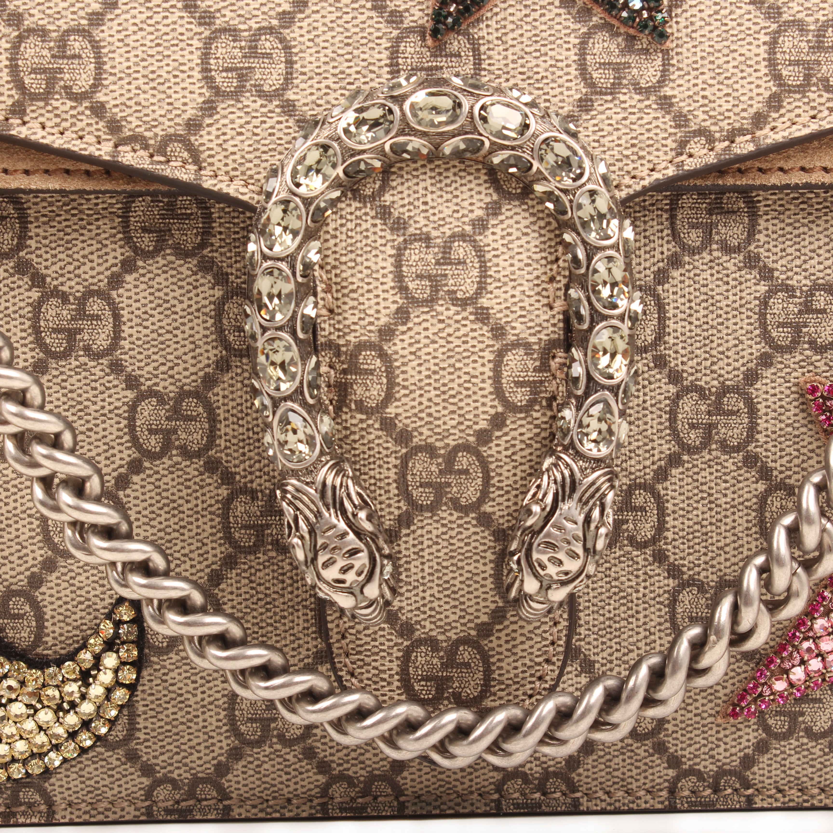 gucci shoulder bag dionysus embroidered rhinestones suede taupe gg supreme canvas tiger closure and chain
