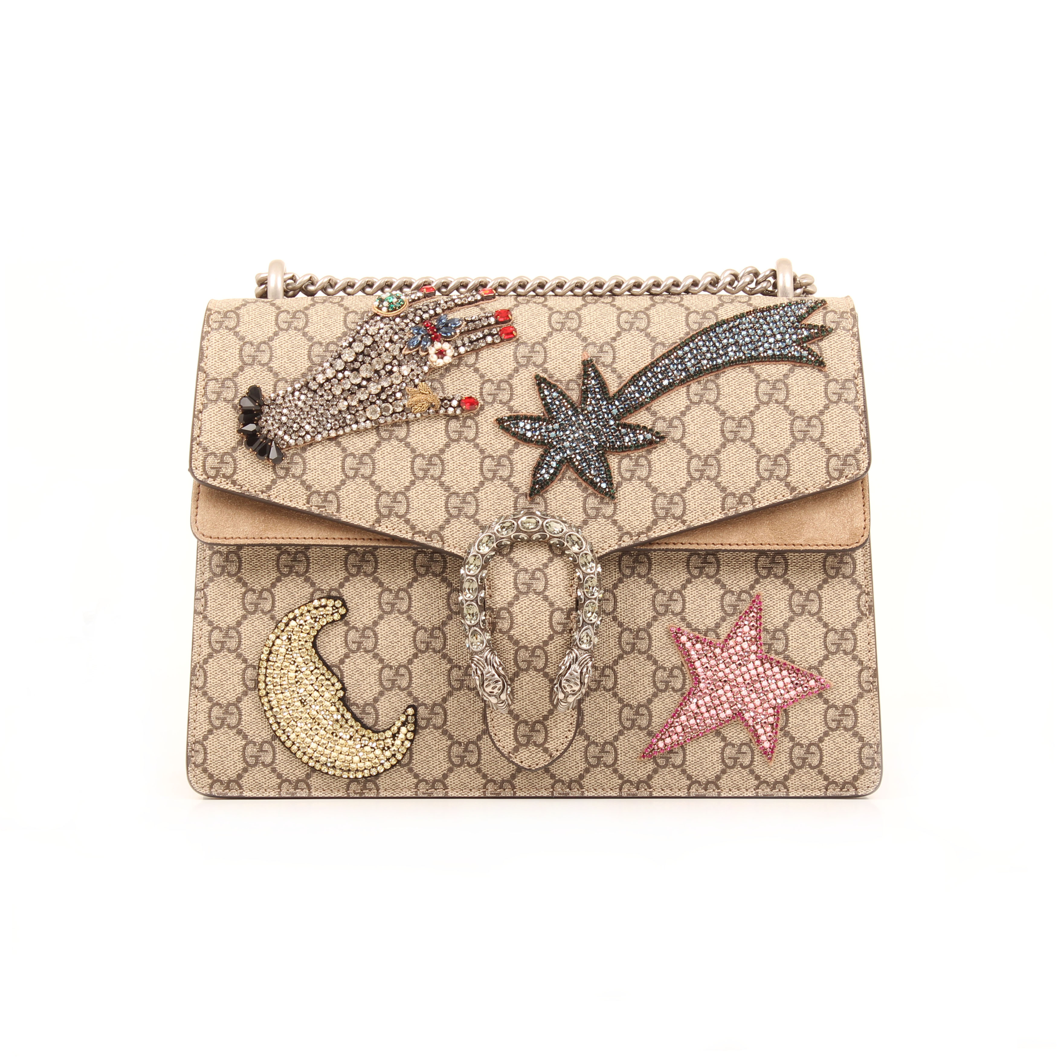 gucci shoulder bag dionysus embroidered rhinestones suede taupe gg supreme canvas front