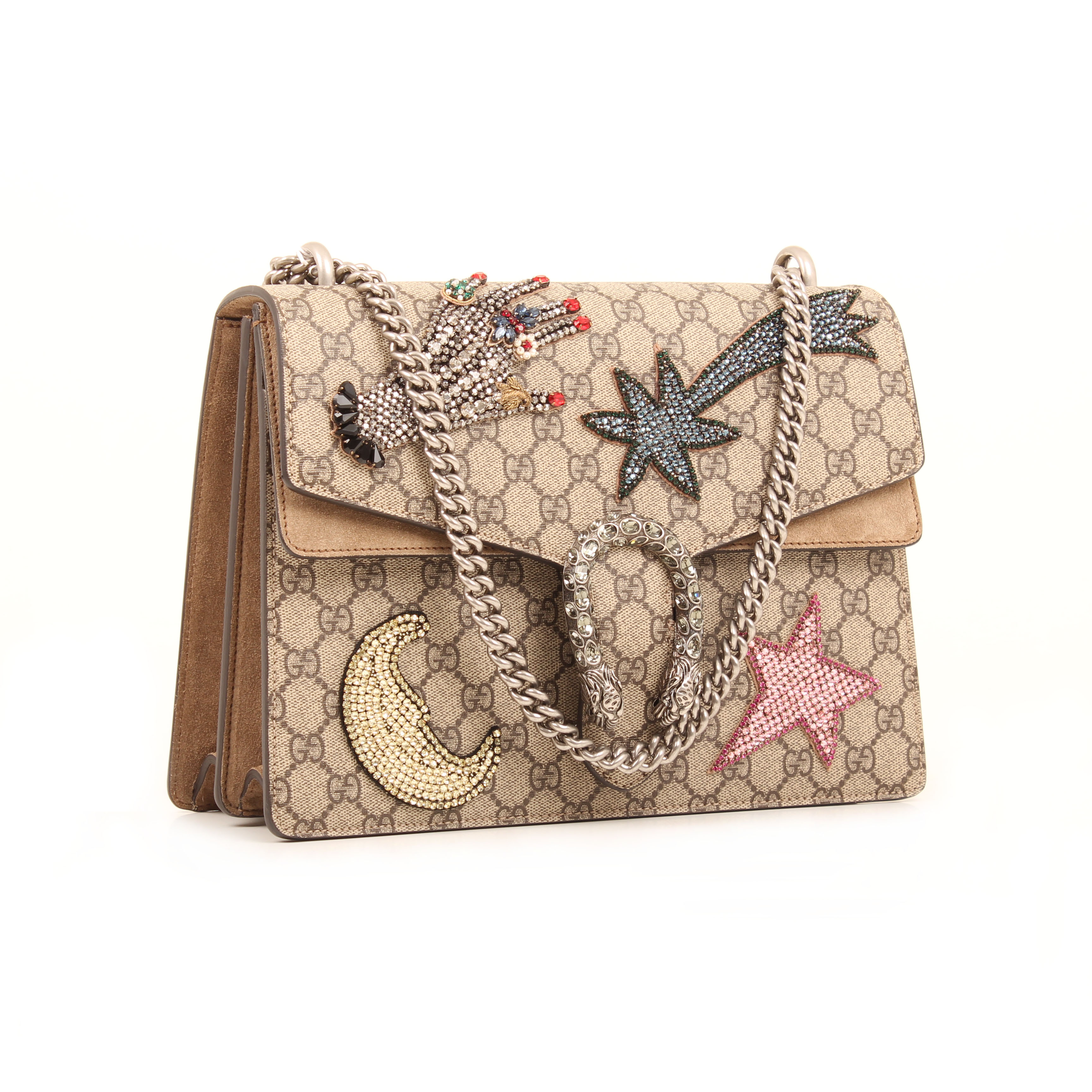 gucci shoulder bag dionysus embroidered rhinestones suede taupe gg supreme canvas general