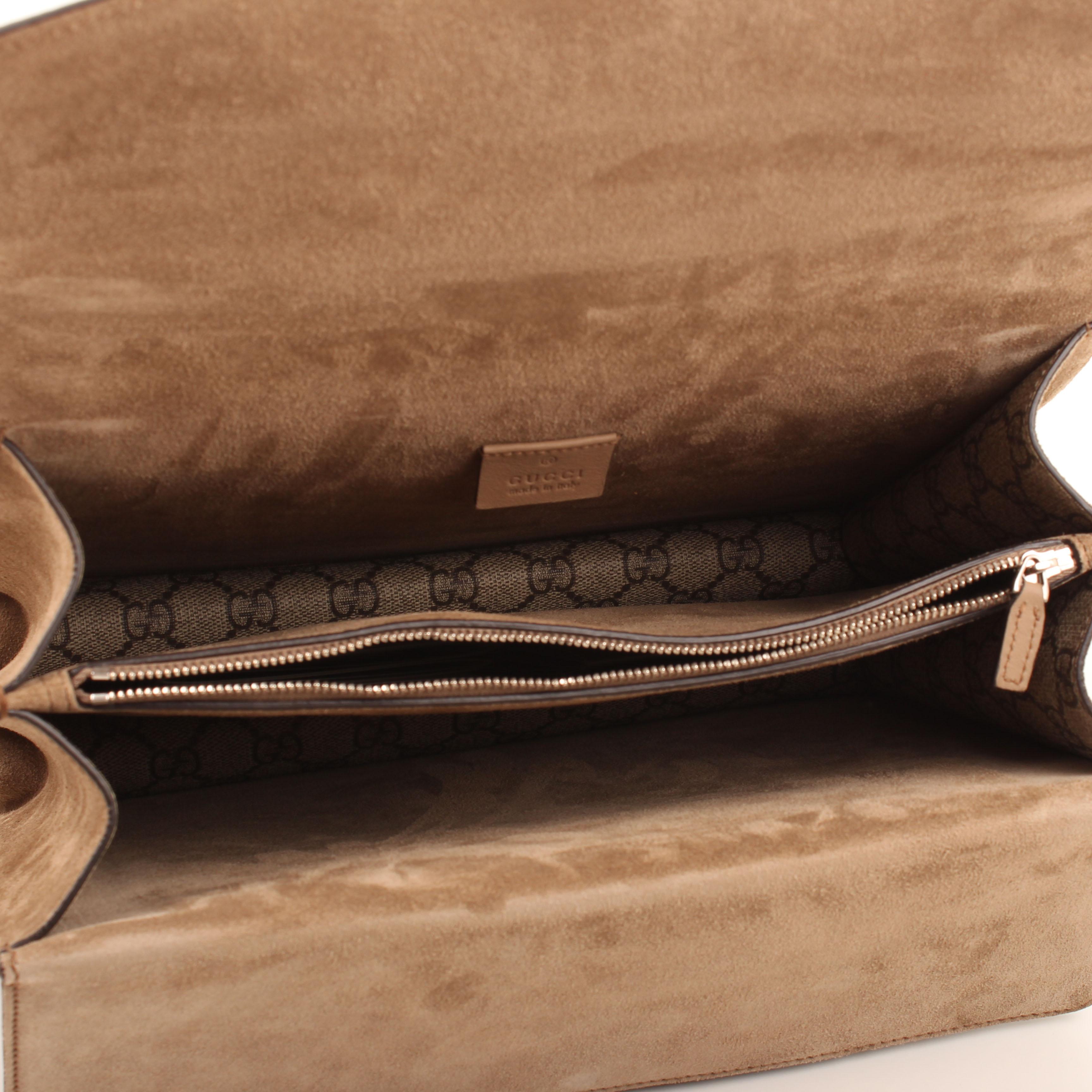 gucci shoulder bag dionysus embroidered rhinestones suede taupe gg supreme canvas interior