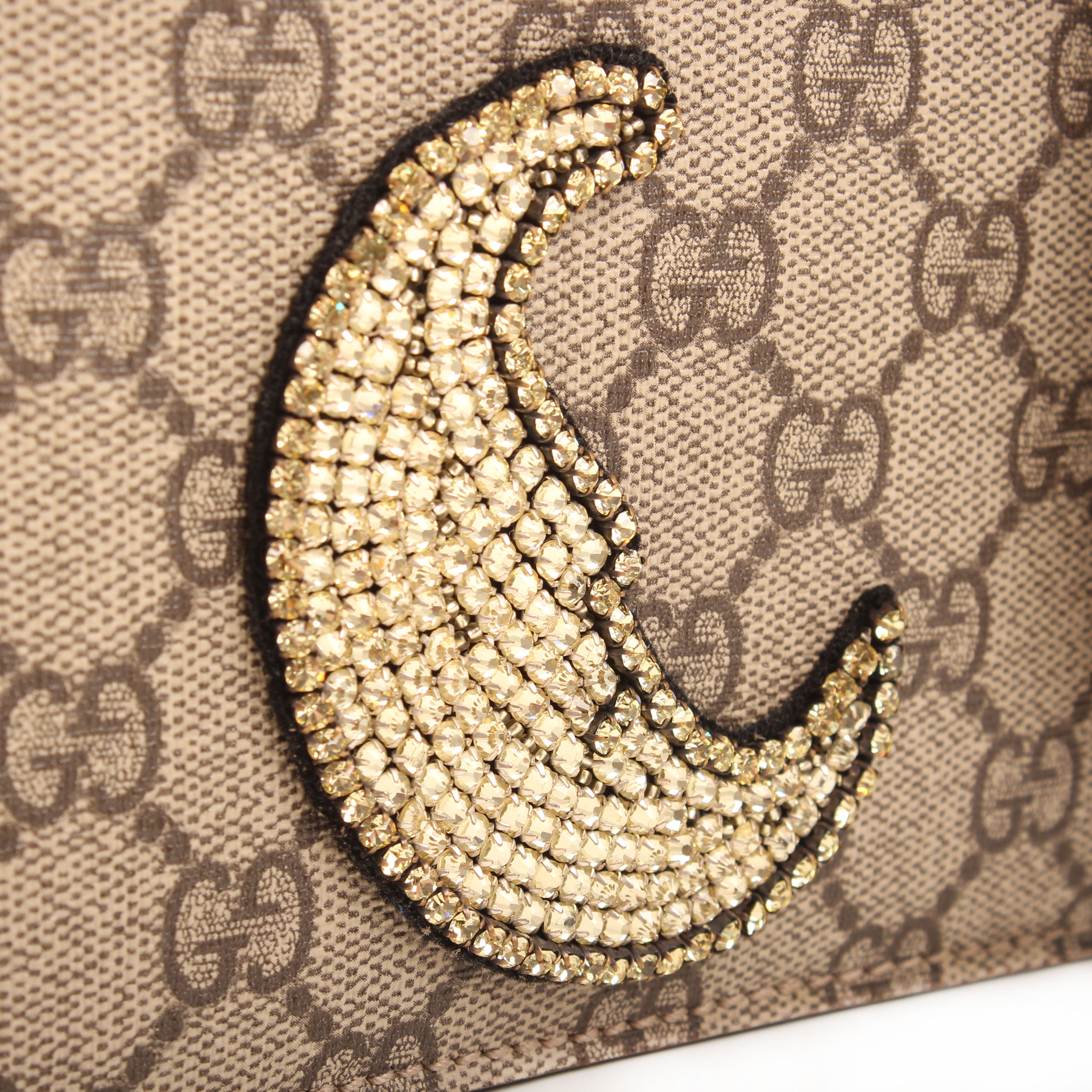 gucci shoulder bag dionysus embroidered rhinestones suede taupe gg supreme canvas moon