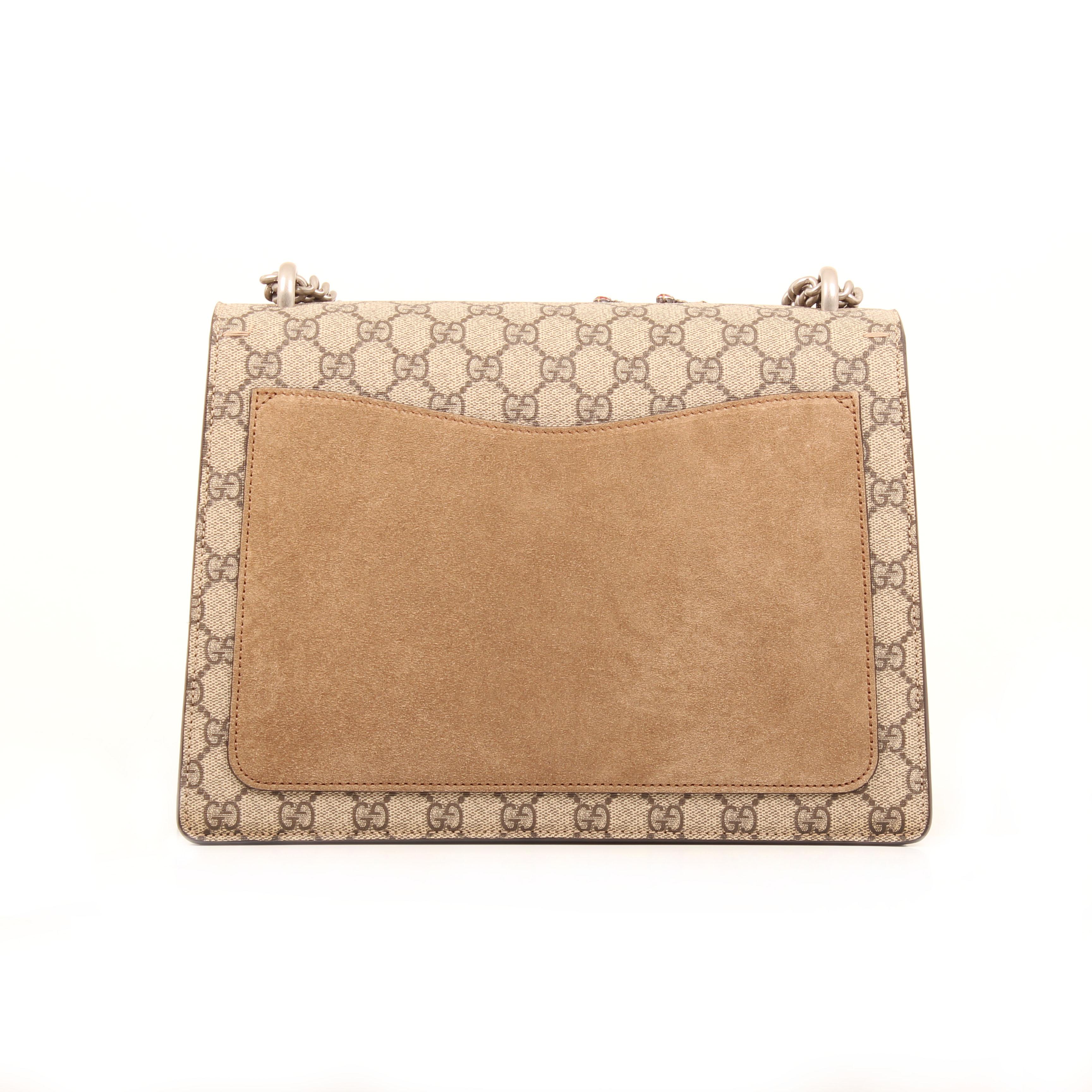 shoulder bag dionysus embroidered rhinestones suede taupe gg supreme canvas back