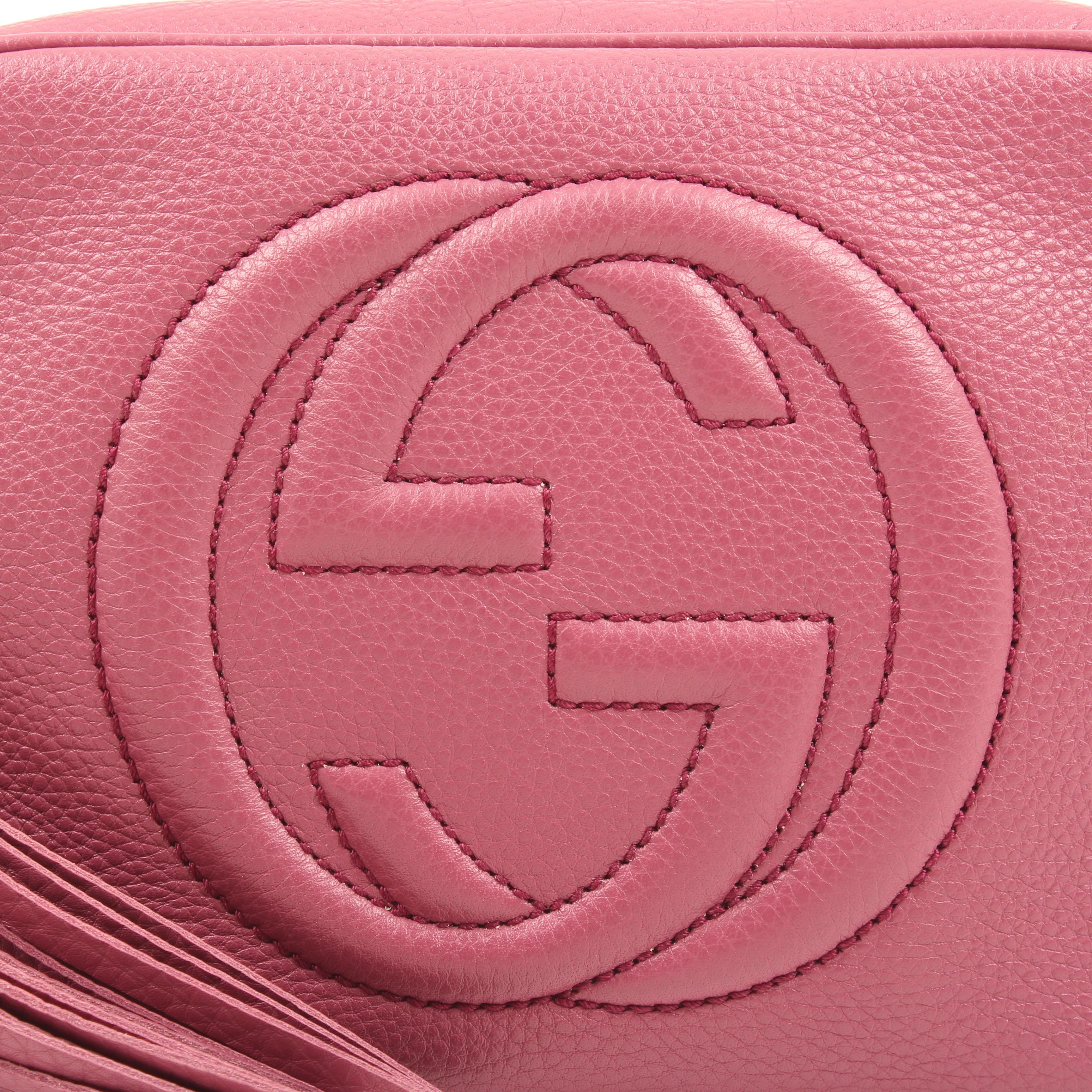 bolso bandolera gucci soho disco piel rosa peonia logo GG
