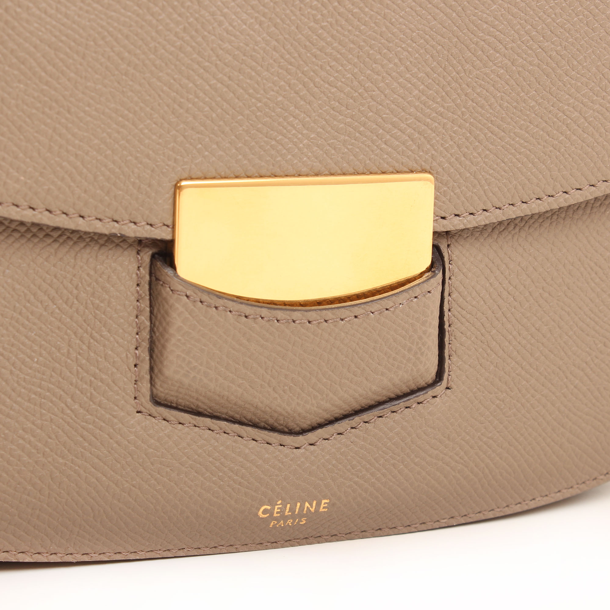 Clasp image of celine trotteur crossbody bag grey grain leather