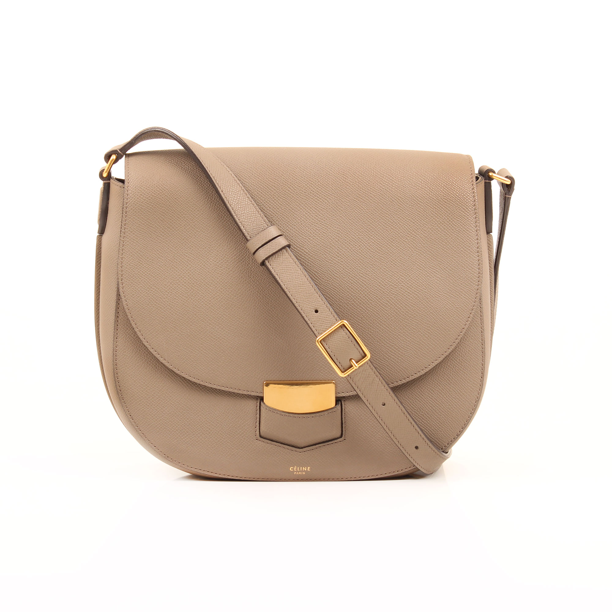 General image 1 of celine trotteur crossbody bag grey grain leather