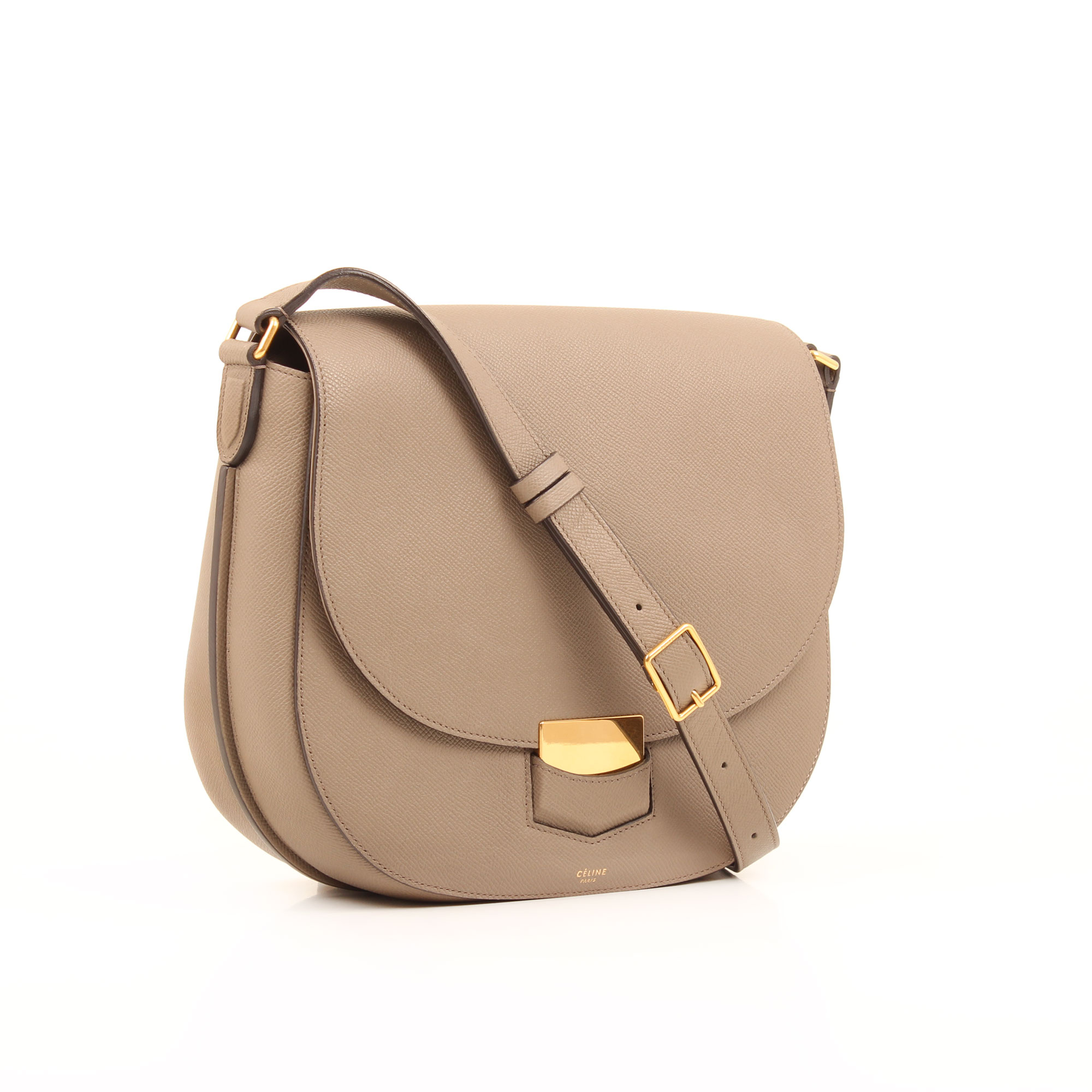 General 2 image of celine trotteur cross body grey grain leather bag