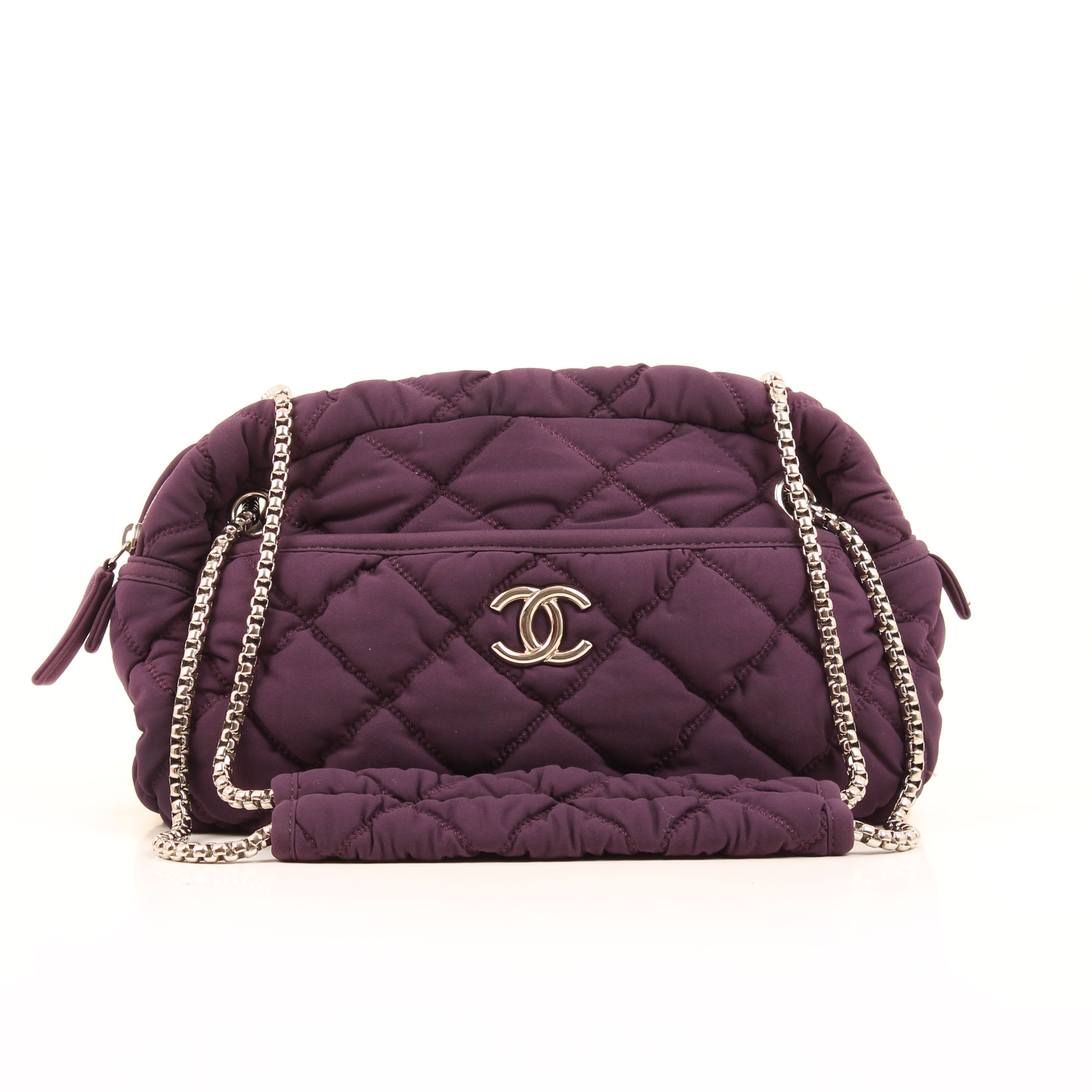 Front image of chanel bubble purple cotton shoulder bag