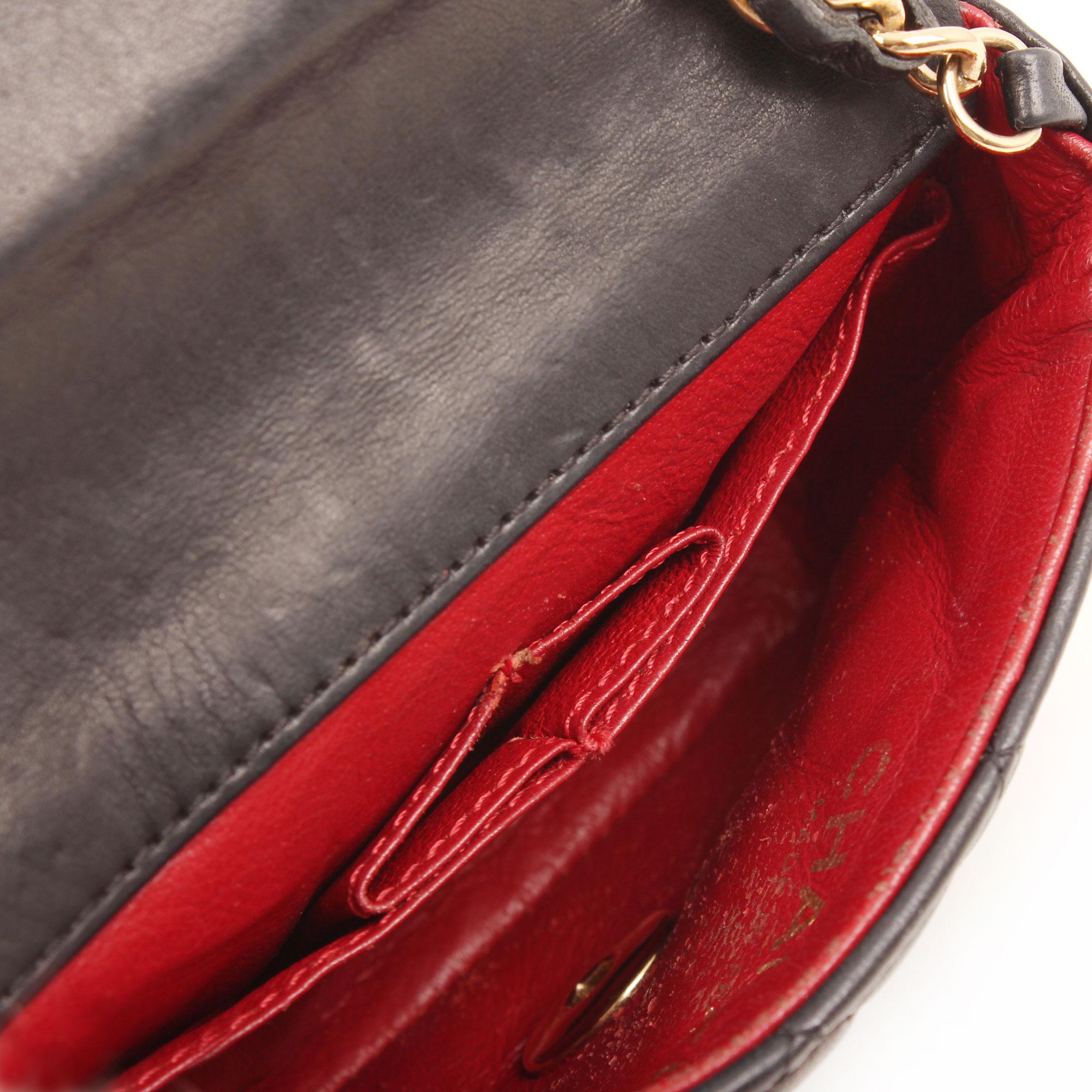 Interior image of chanel micro mini black bag