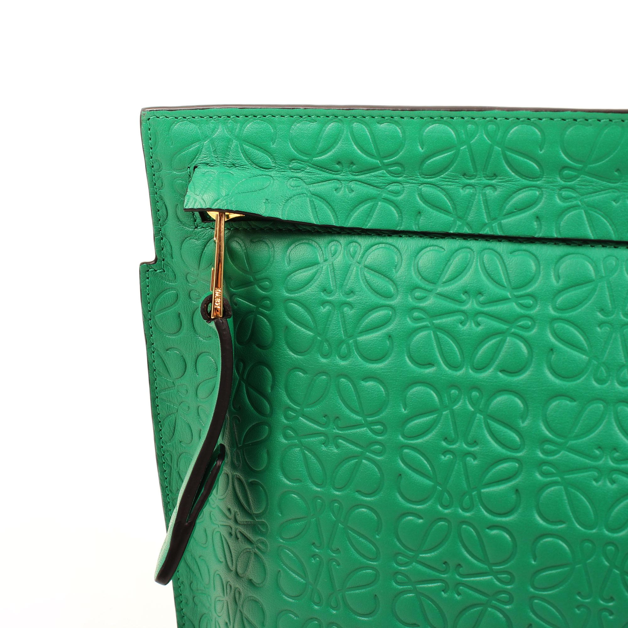Imagen de detalle del herraje del bolso clutch loewe t pouch verde embossed