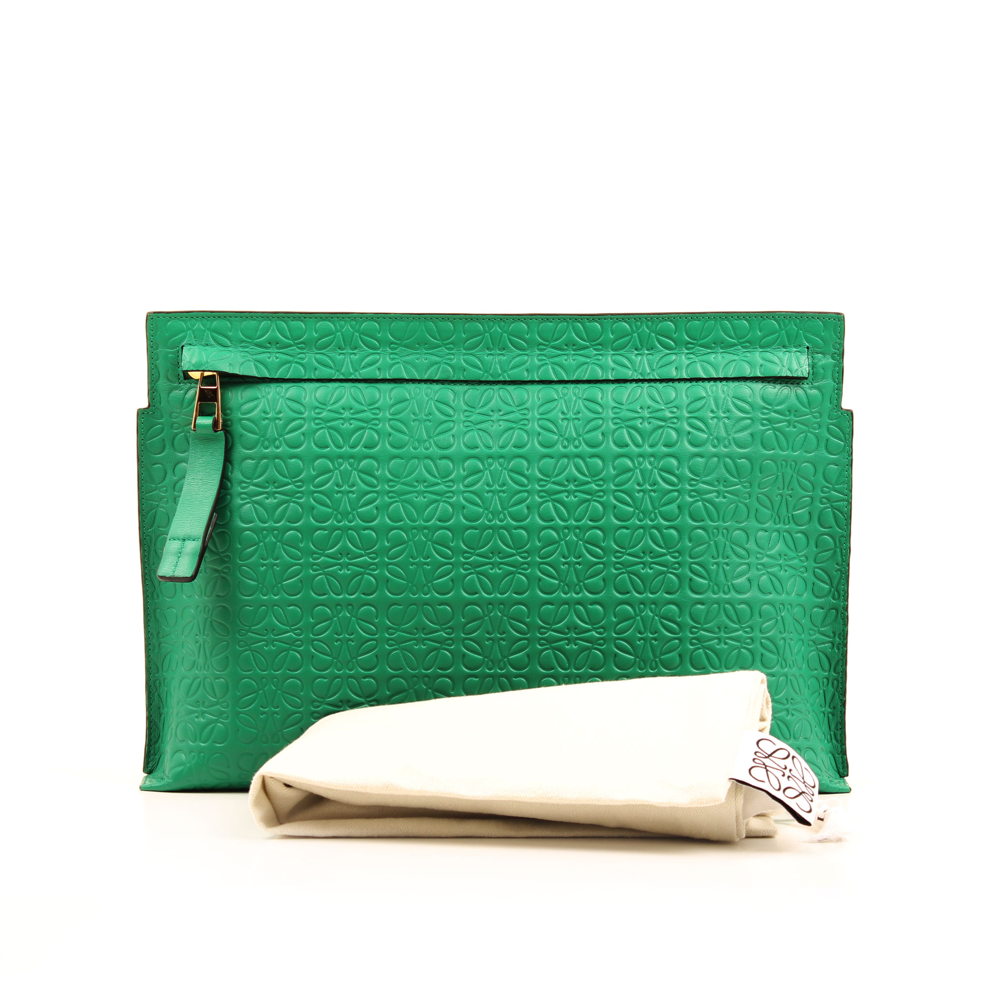 Imagen del dustbag del bolso clutch loewe t pouch verde embossed