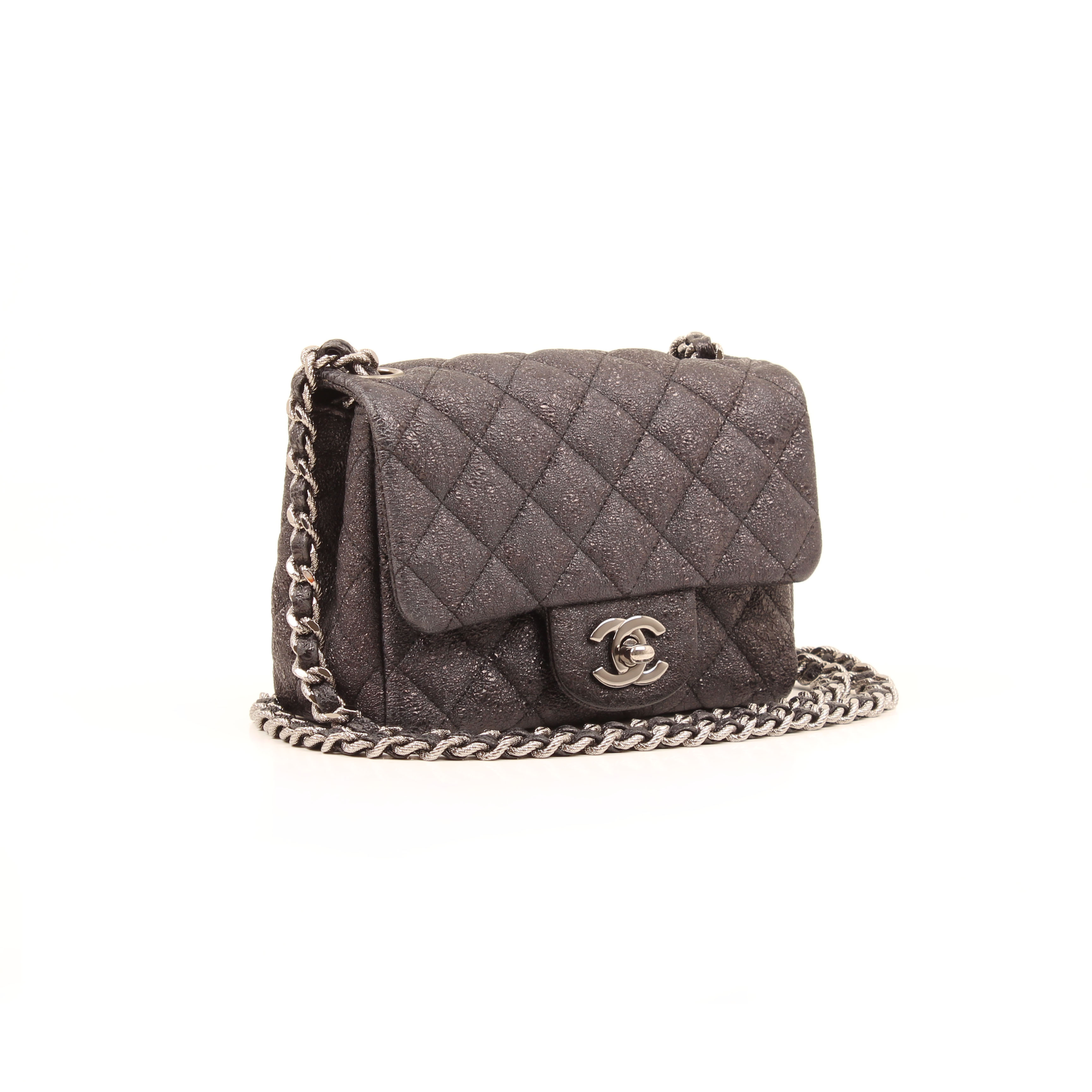 chanel mini crackled calfskin crossbody bag grey general