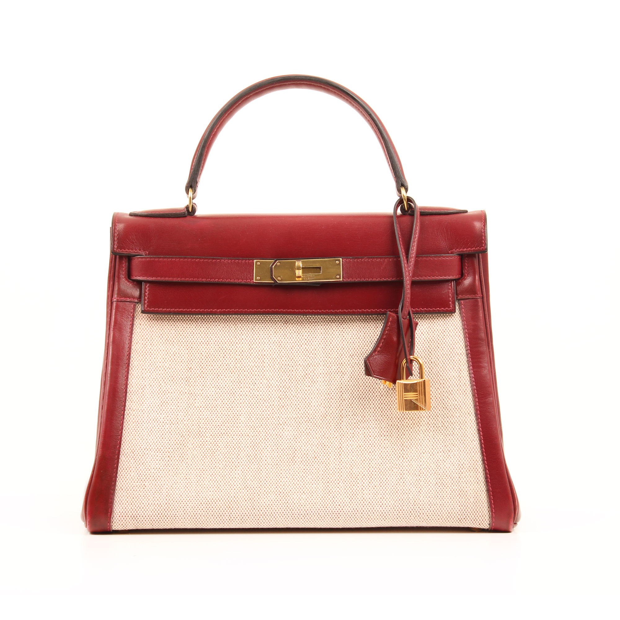 Frontal image of hermes kelly 28 canvas leather burgundy bag