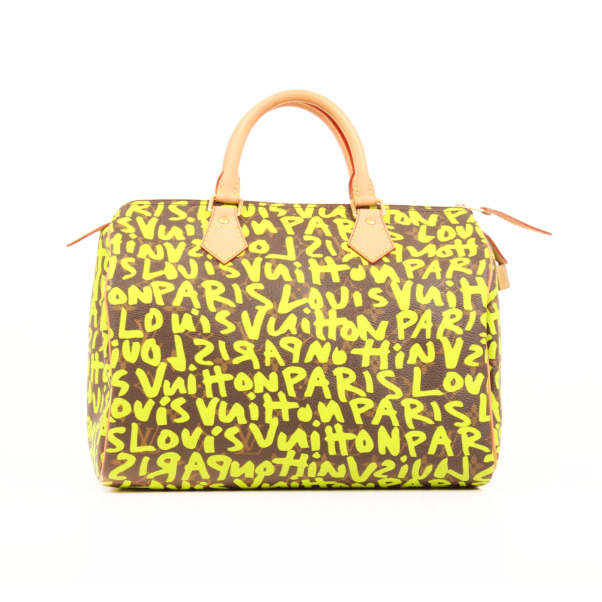 Imagen frontal del bolso louis vuitton speedy 30 graffiti verde