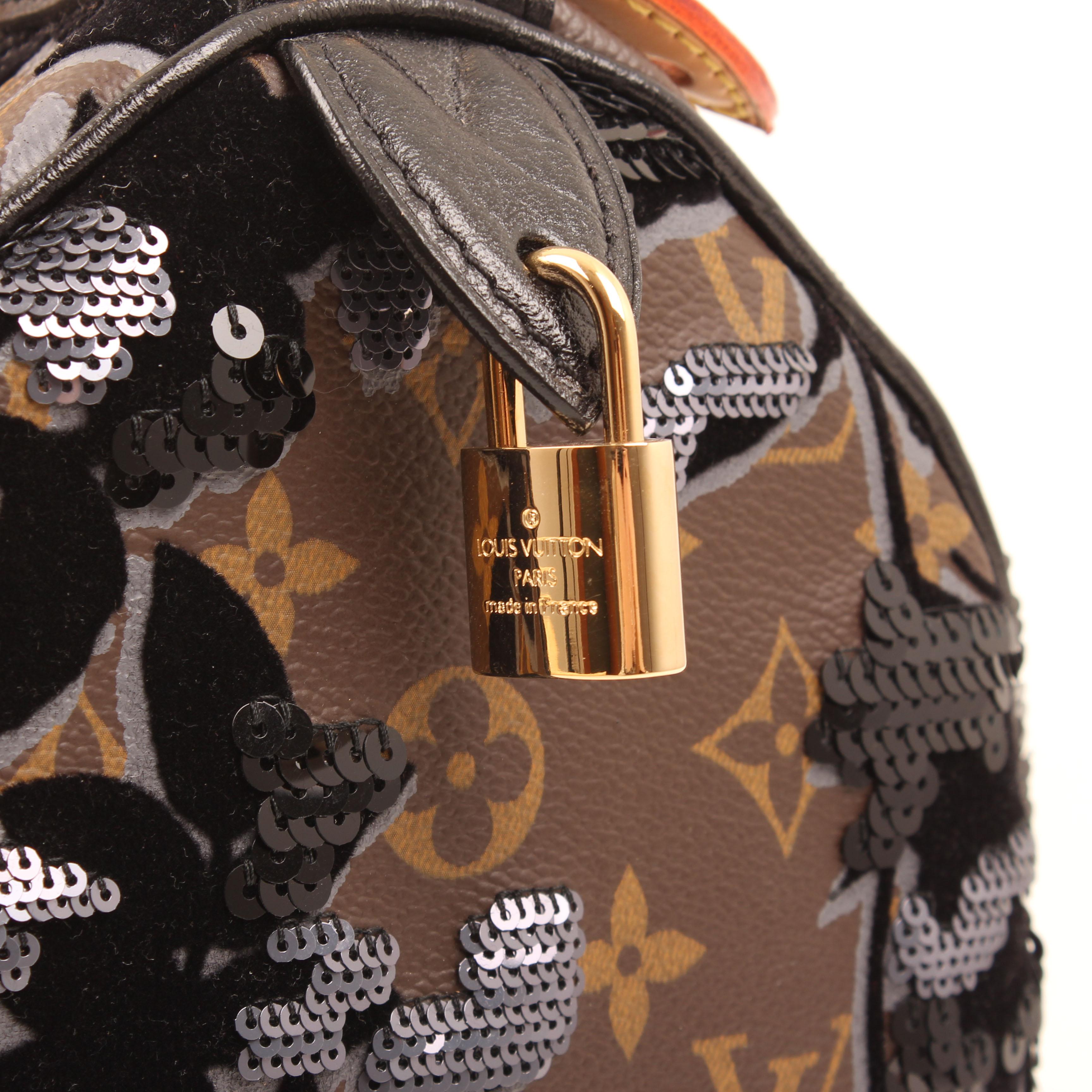 louis vuitton bag speedy 30 monogram fleur de jais velvet sequins padlock