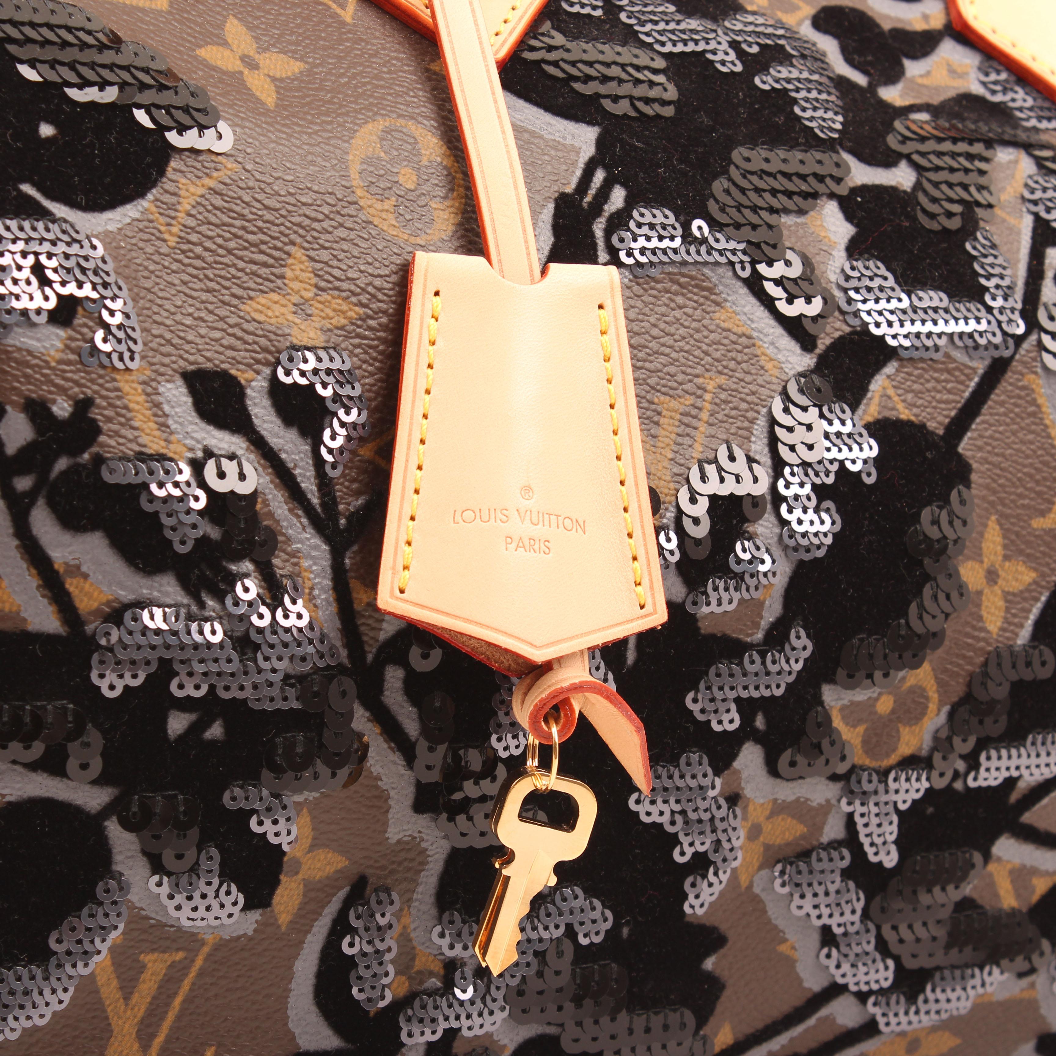 louis vuitton bag speedy 30 monogram fleur de jais velvet sequins keys clochette