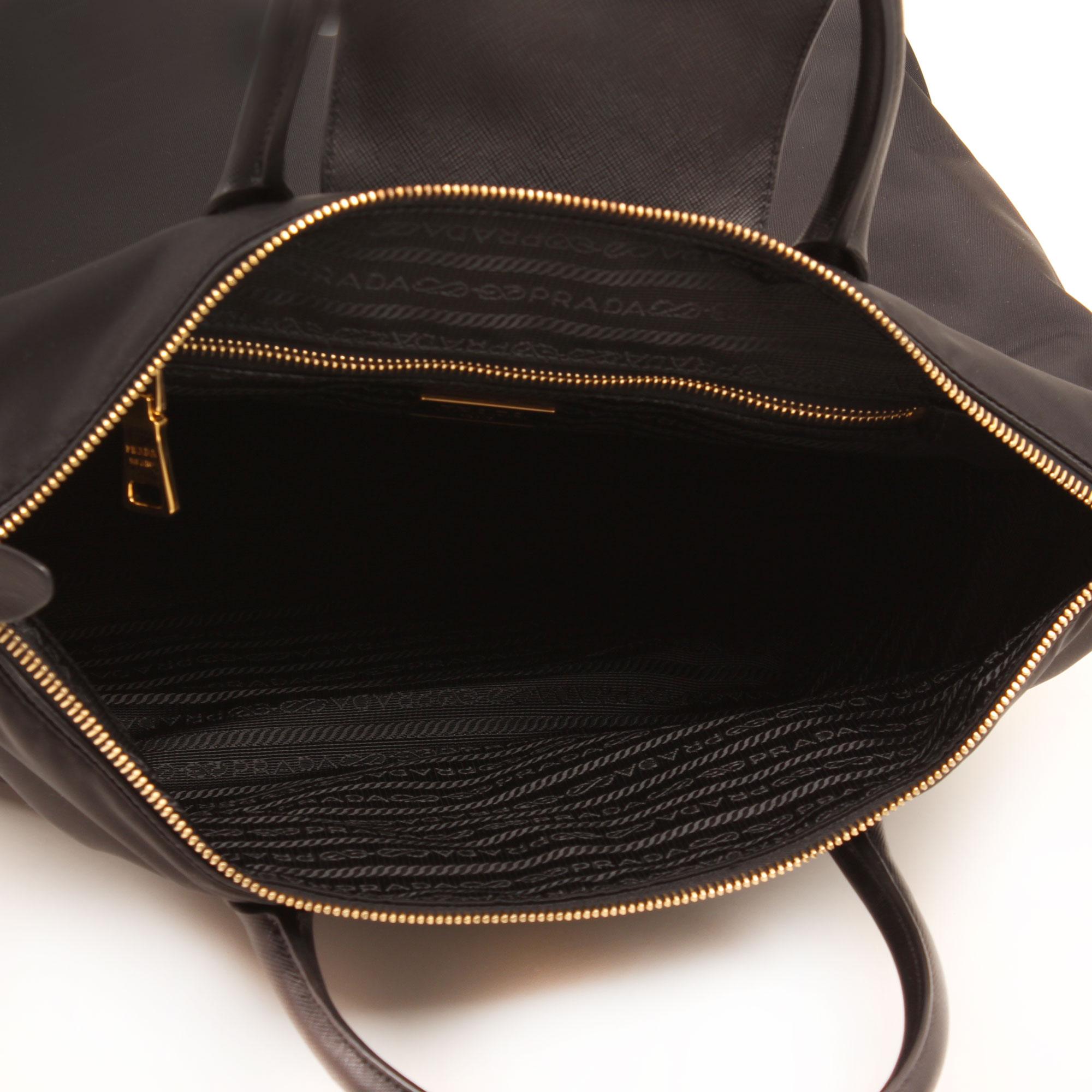 bolso prada saffiano nylon negro interior