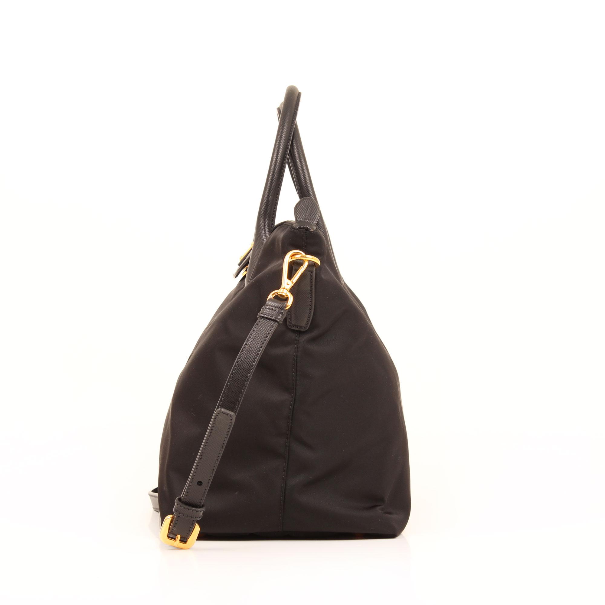 bolso prada saffiano nylon negro lateral