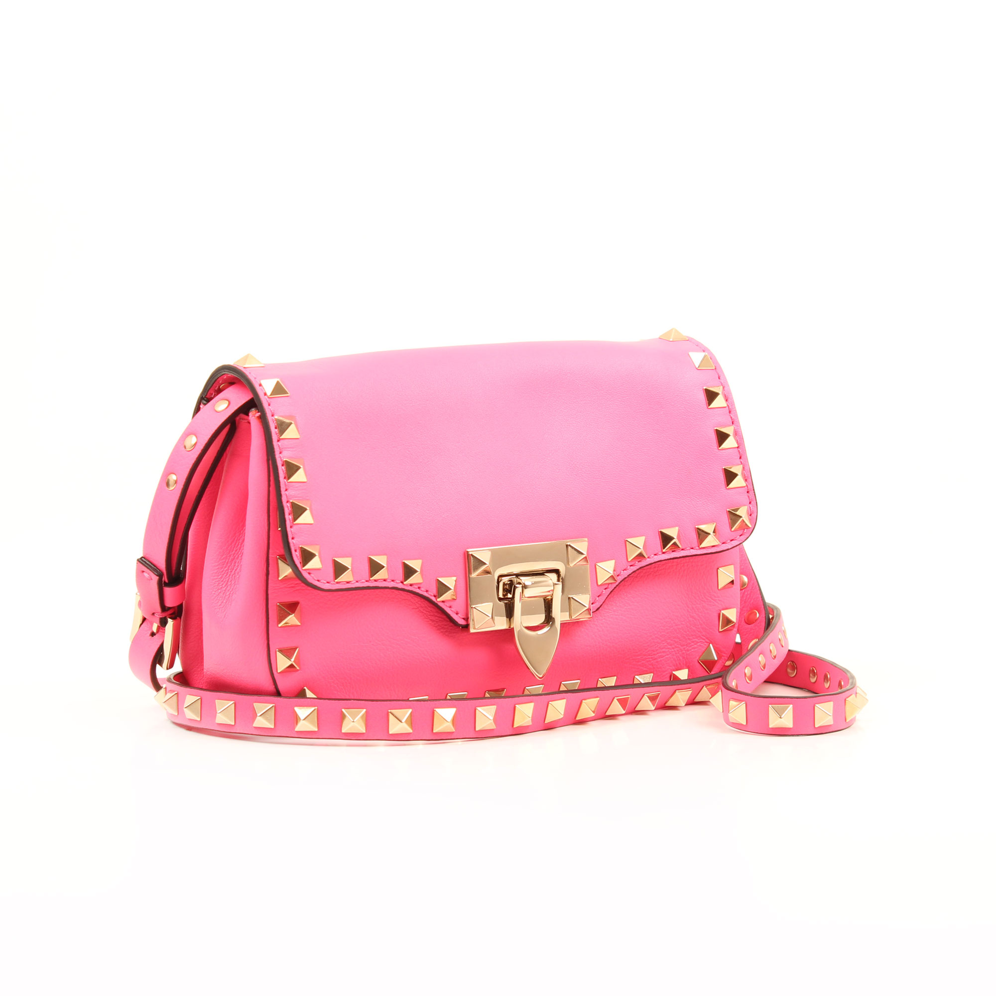 Imagen general del bolso valentino mini rockstud rosa