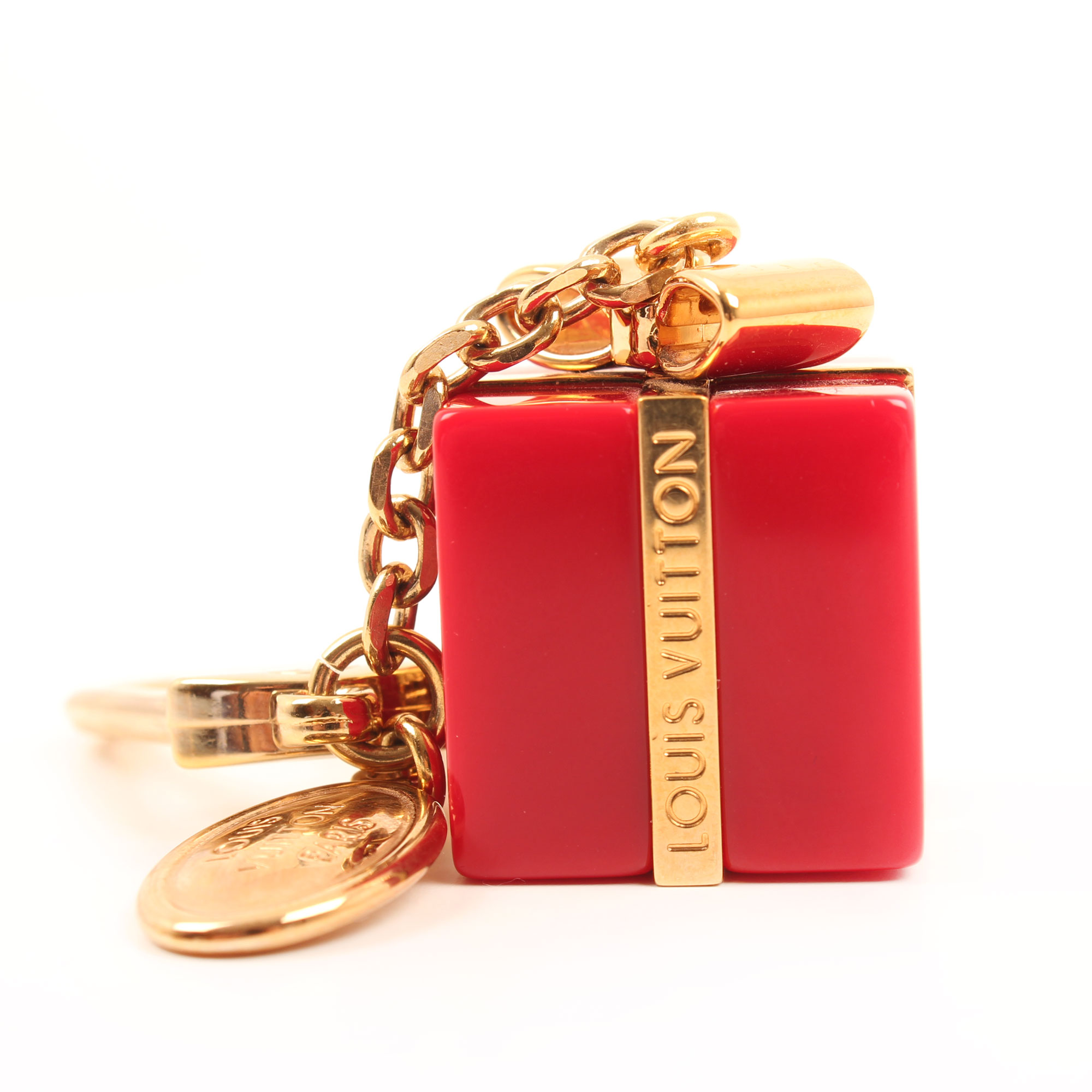 louis vuitton gift box charm bag red golden front