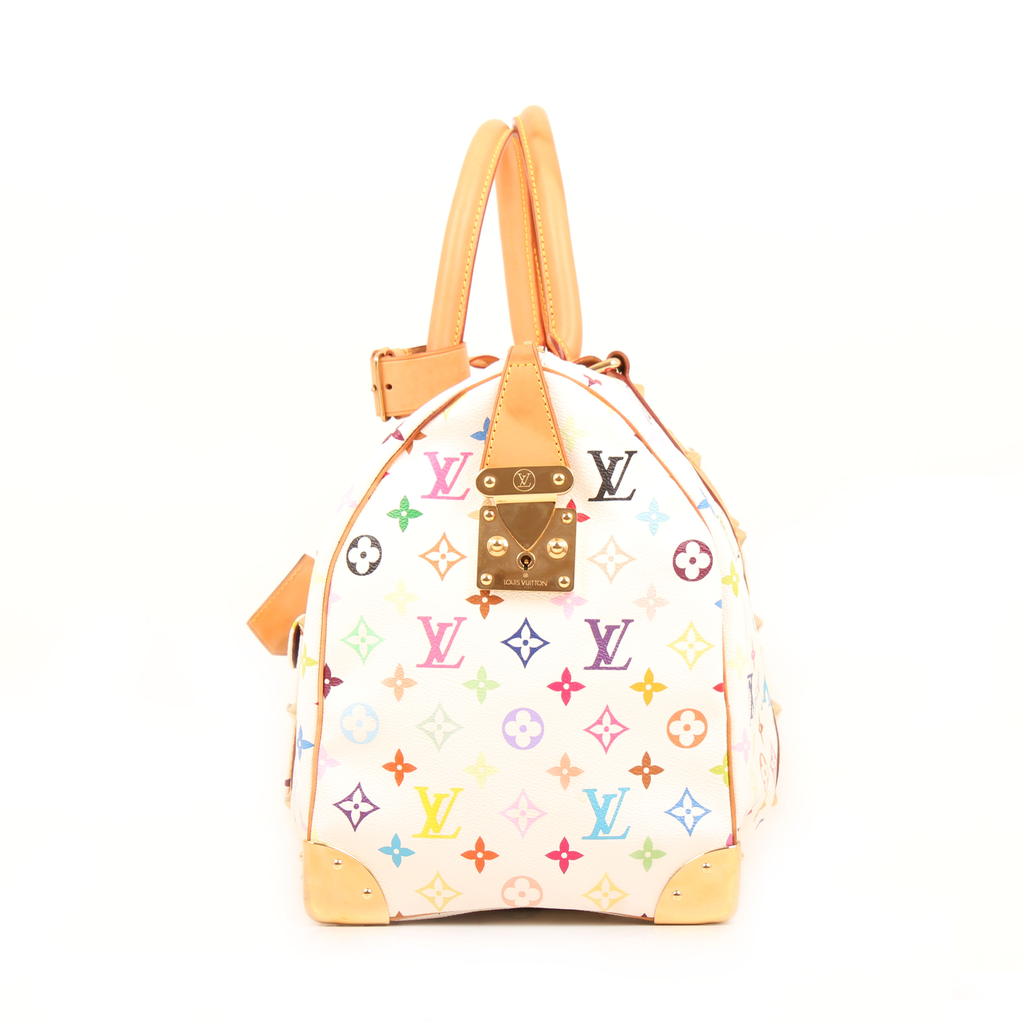 louis vuitton keepall murakami 45 monogram multicolor white travel bag side